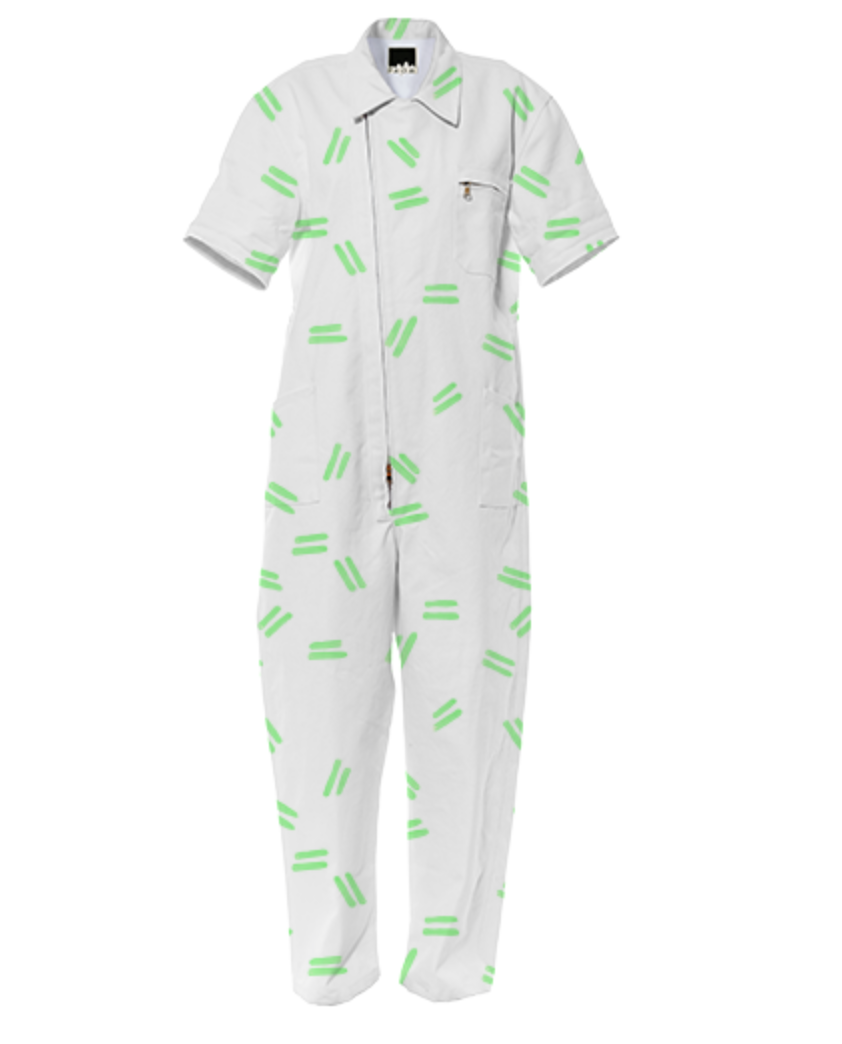 GREEN DASH JUMPSUIT    Cotton Jumpsuit      One Hundred Eighty Dollars