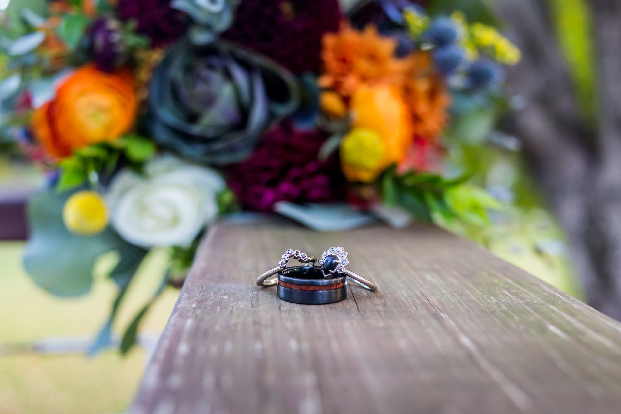 A photo of wedding rings taken during a fall wedding in Indiana