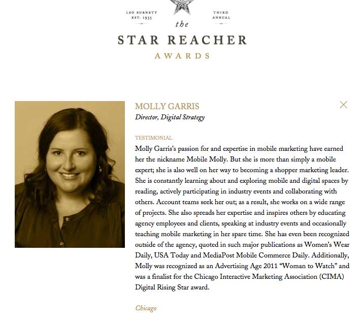 Leo Burnett 2013 Star Reacher Award    More information