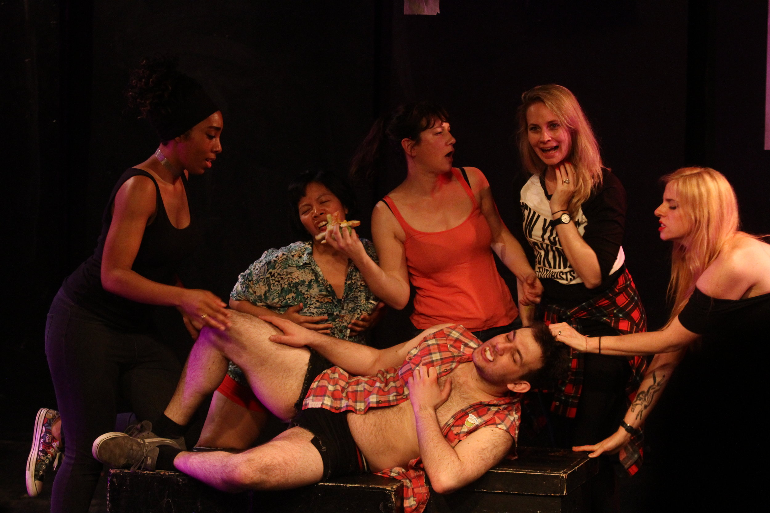 KM and Meg, far right, performing together in the INFINITE wrench. pic/ Charlotte arnoux/ www.charlottearnoux.com