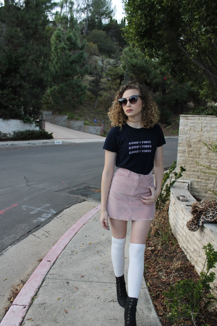 American Apparel Socks $5 in store (not online) / Brandy Melville T Shirt and Skirt / Timberland Boots / Forever21 Shades