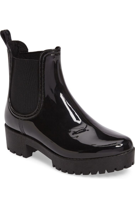 Cloudy Chelsea Rain Boot / Jeffrey Campbell / $55  I love the marriage of the 90s grunge trend with these boots