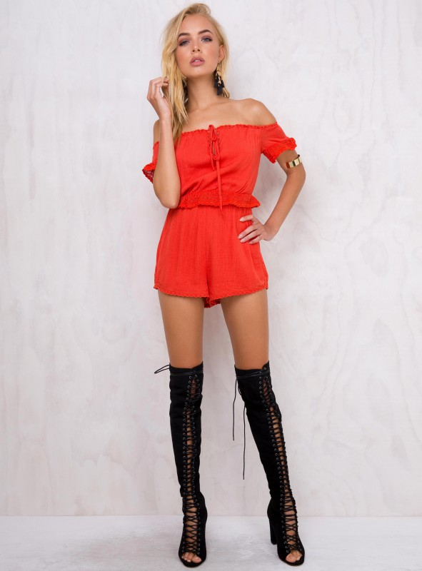 Carnation Kiss Off the Shoulder Romper / Princess Polly / $65