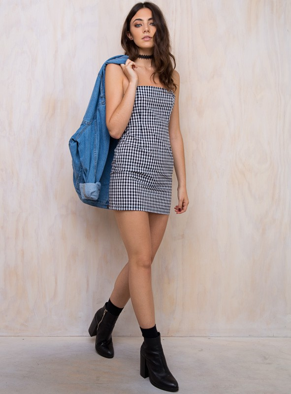 Always yes to Gingham and love those boots with this outfit   Girl Gang Mini Dress  / Princess Polly / $60