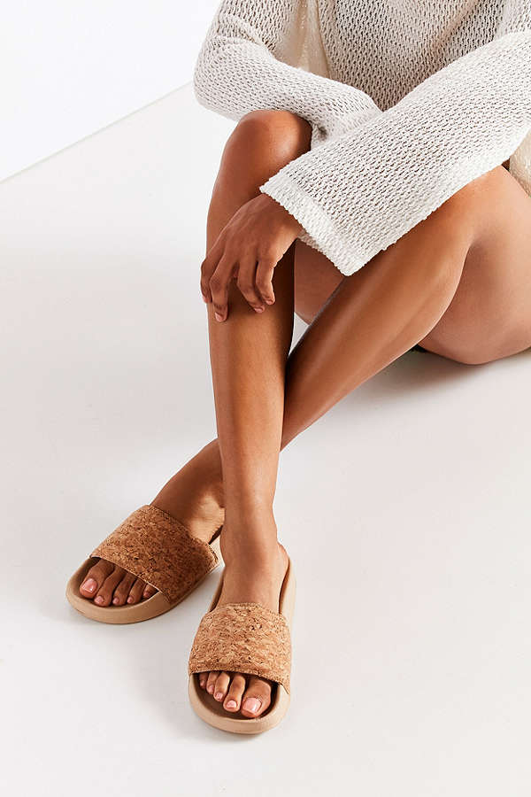 Cork Pool Slides / Urban Outfitters / $15  Cheap and chic, I love the natural look too