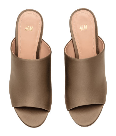 Good for a neutral office shoe that also works at night  Open-toe Mules / $20 / H&M