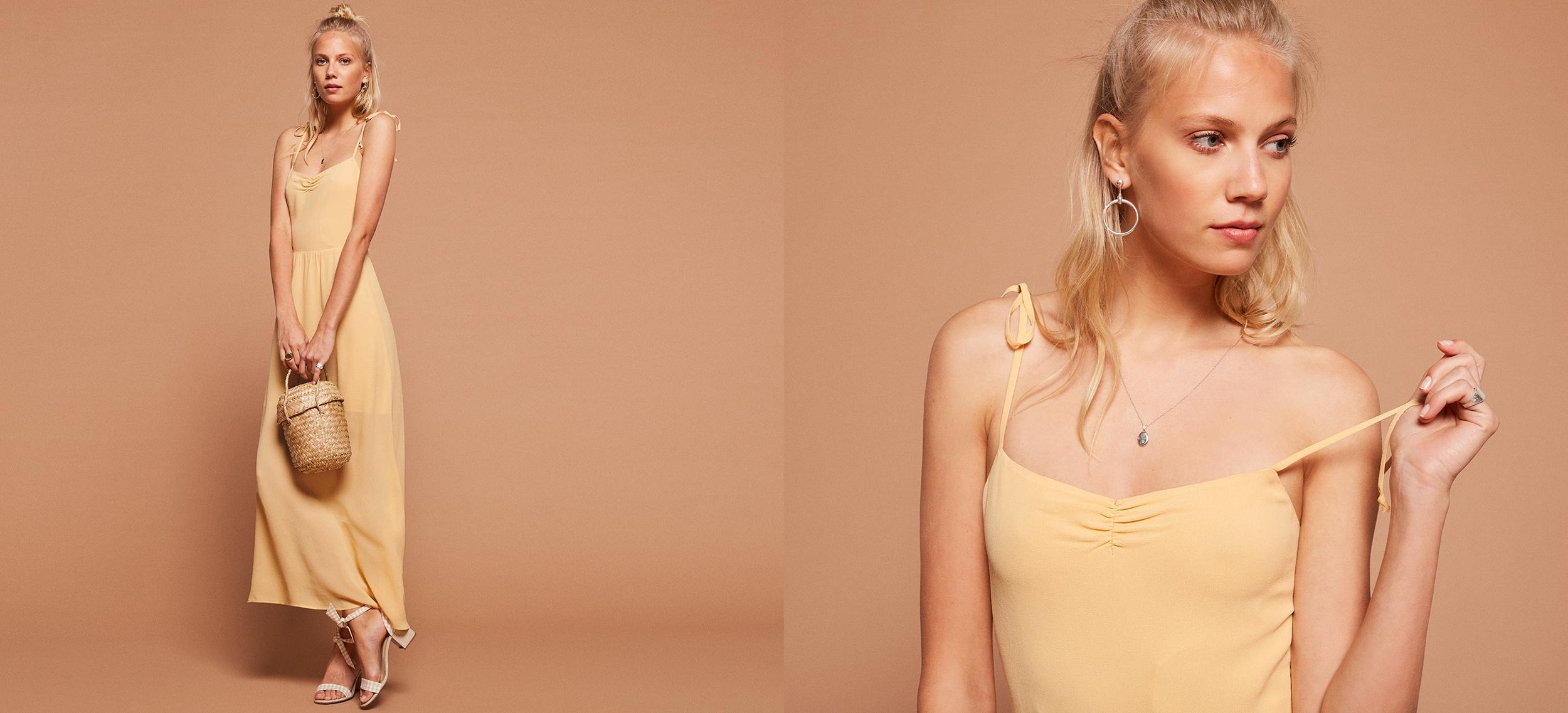 I love tie up straps on dresses and this lovely buttercup color? swooning.  Sylvie Dress / Reformation / $174