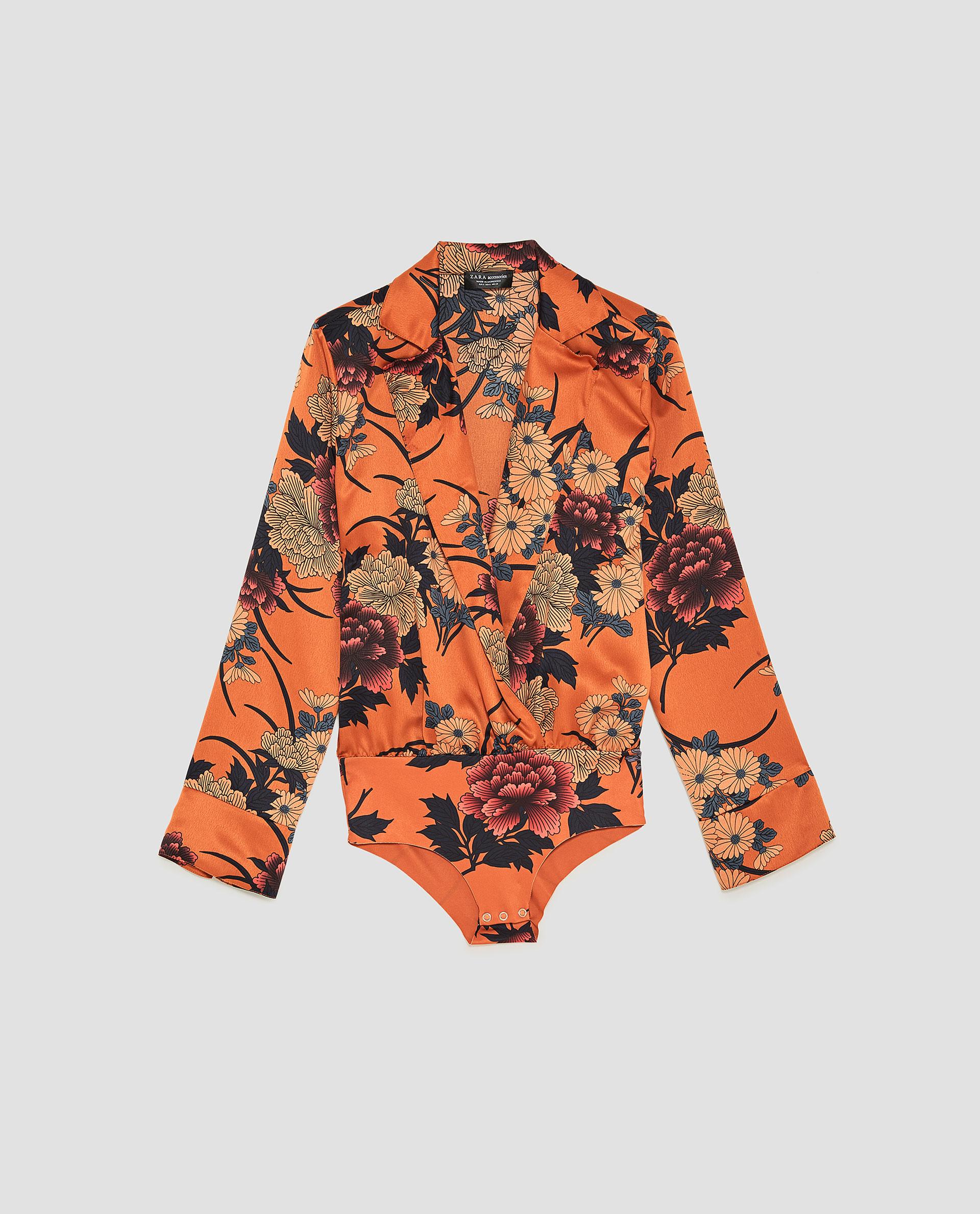 a bodysuit under the asian influence  Printed Sateen Bodysuit / $50 / Zara