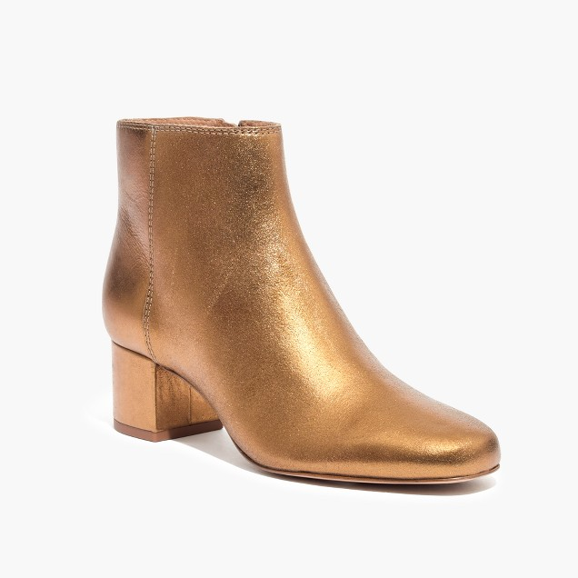 been looking for the right gold bronze boot to work into the wardrobe   The margot boot in soft metallic / $198 / Madewell
