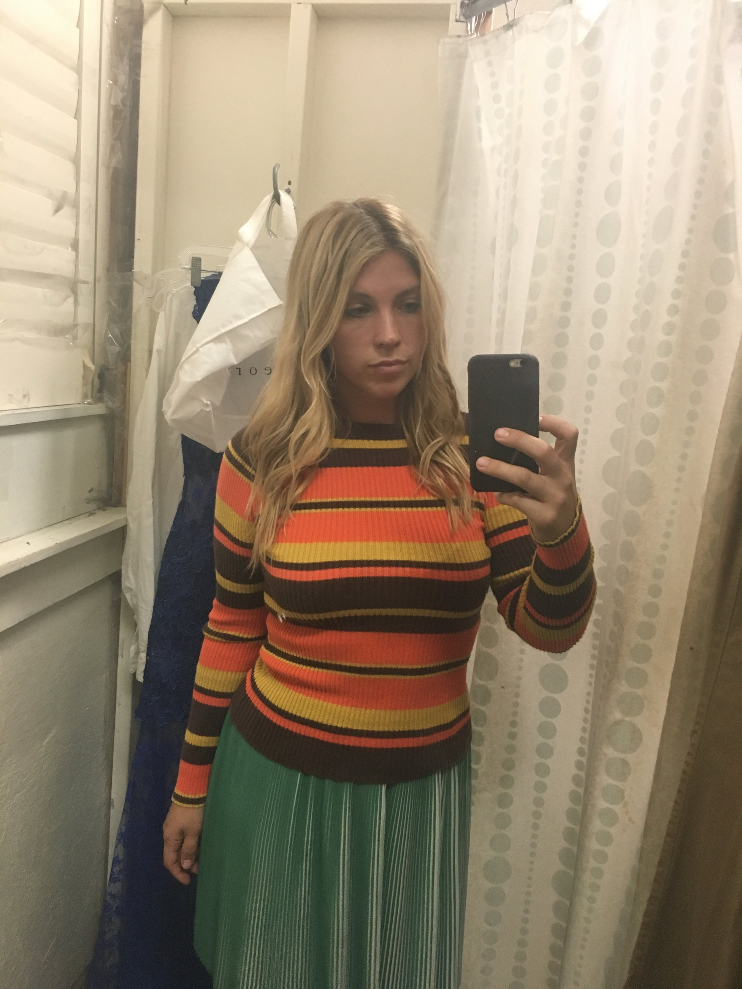 an clear almost - would have been a funny sweater for Halloween time. Did not purchase.