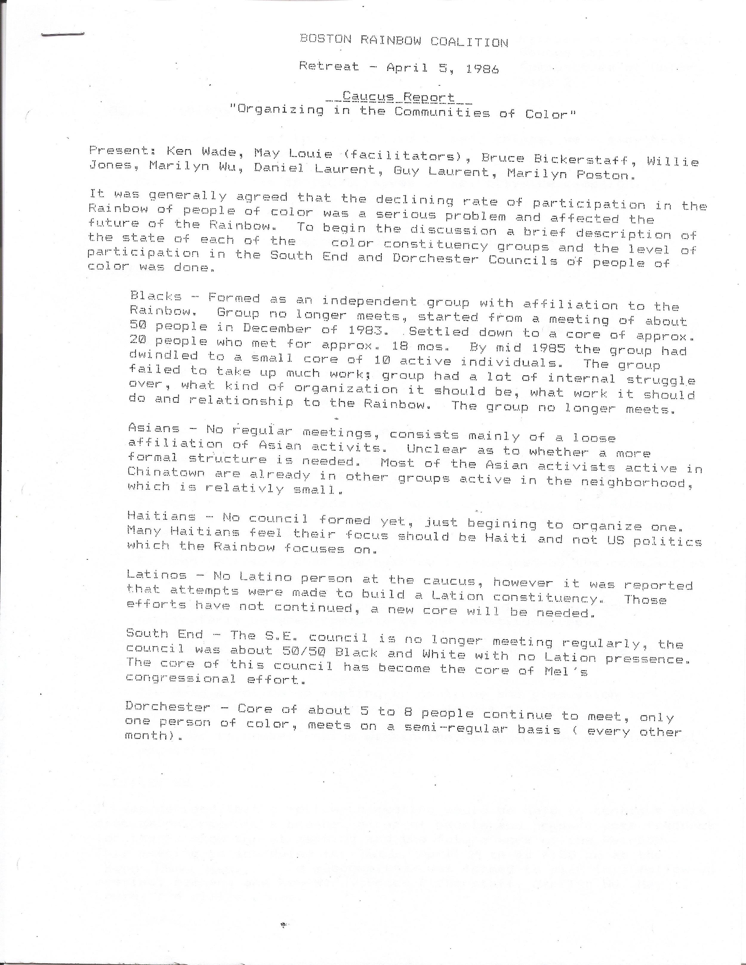 Rainbow Coalition, Mel King Papers, Roxbury Community College.