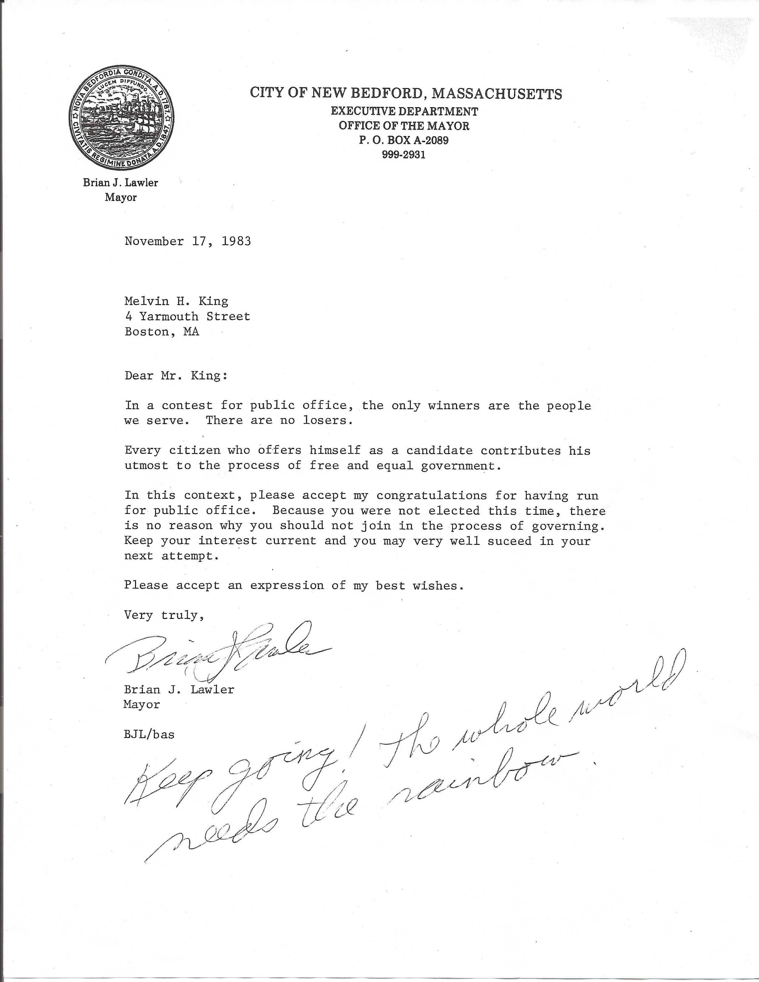 Letter from New Bedford's mayor to Mel King about his mayoral campaign defeat. Mel King Papers, Roxbury Community College.