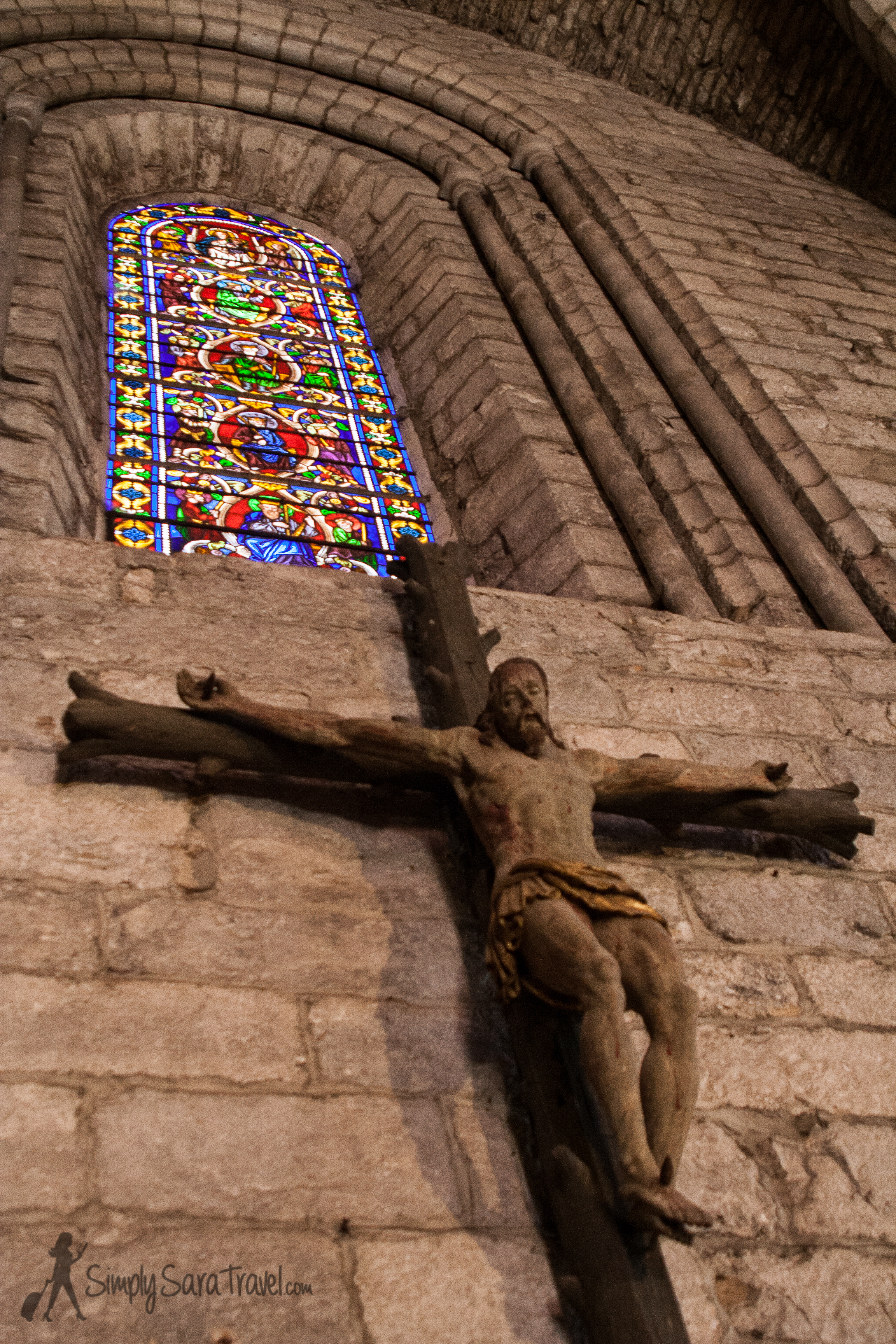 Jesus on cross inside a church inRocamadour, France