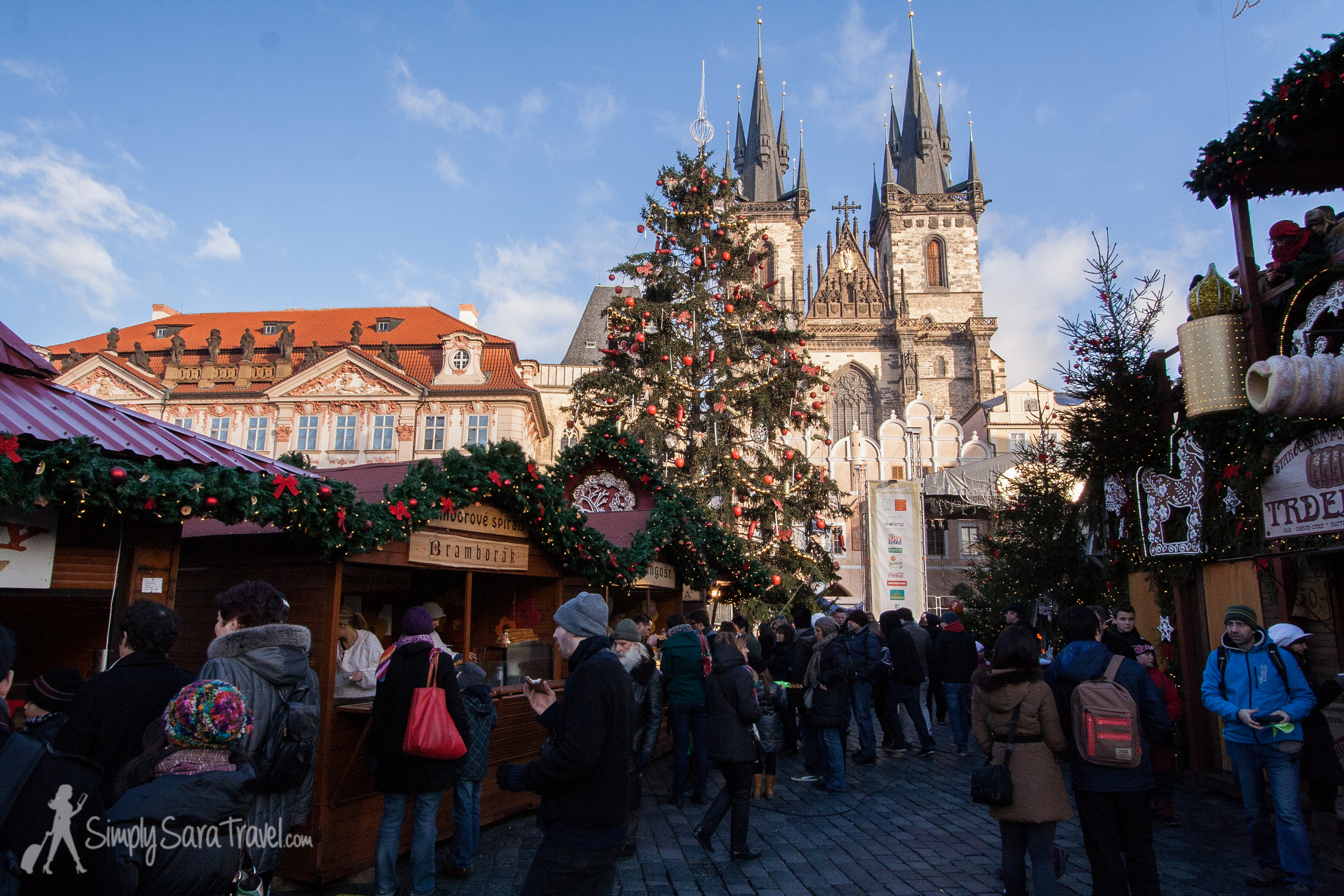 European cities get all dressed up for Christmas. Prague was such a beautiful city in its own right and became even more romantic with its markets. This is at the Old Town Square (Staroměstské náměstí).