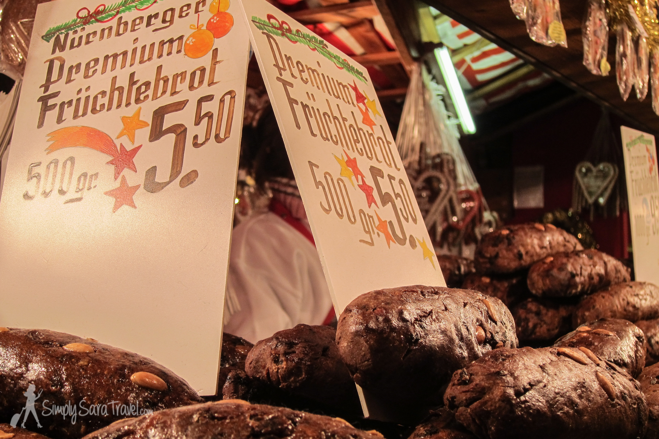 Here's someFrüchtebrot (fruit bread) fromNürnberg. Sadly, I don't have any pictures of the specialty that I really loved from that town, which were soft gingerbread-like cookies called Lebkuchen . I must have eaten them too fast to document!