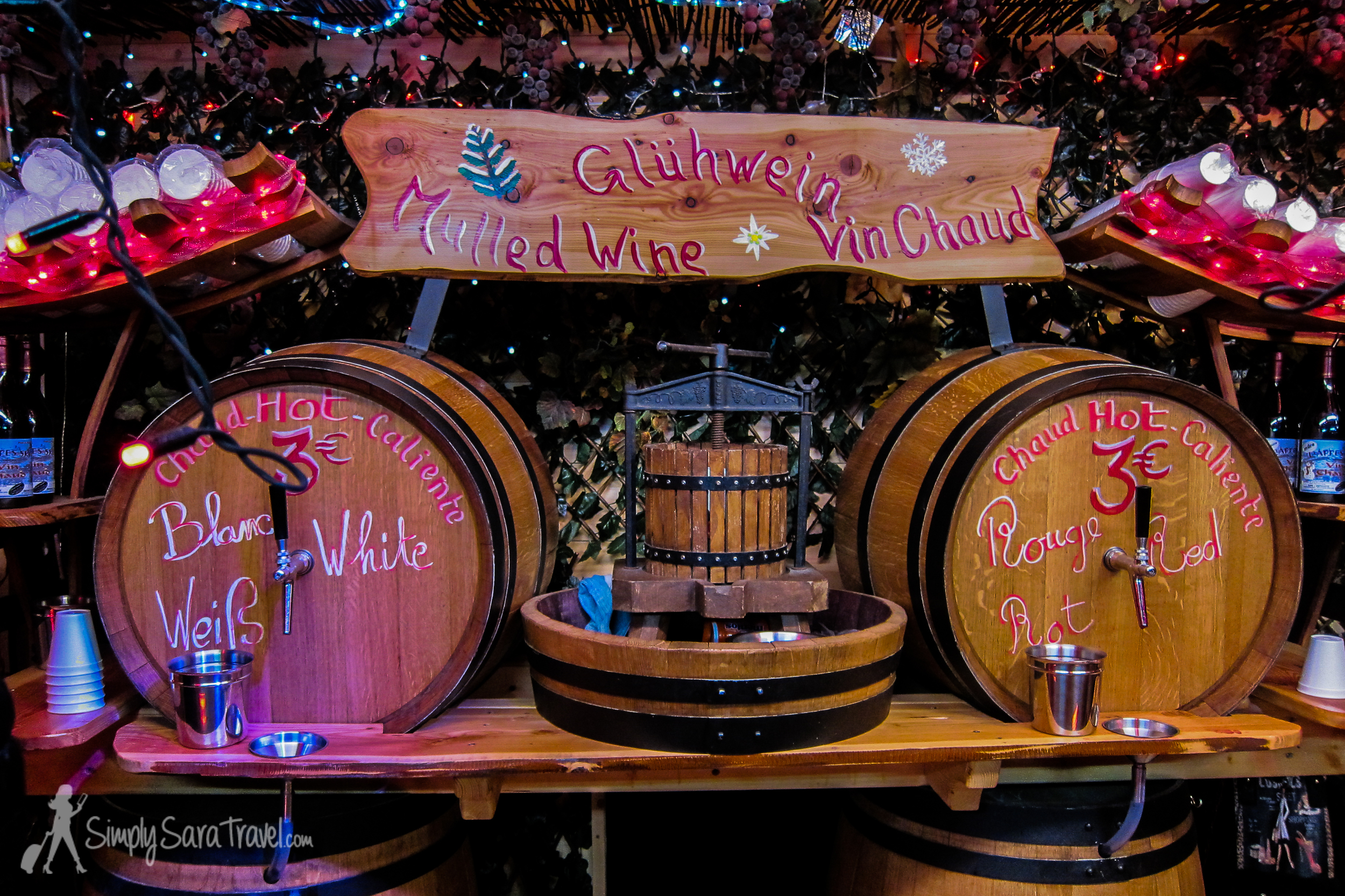 Called vin chaud in French and glühwein  in German, mulled wine is a staple to any Christmas market and is useful to combat the inevitable cold temperatures.