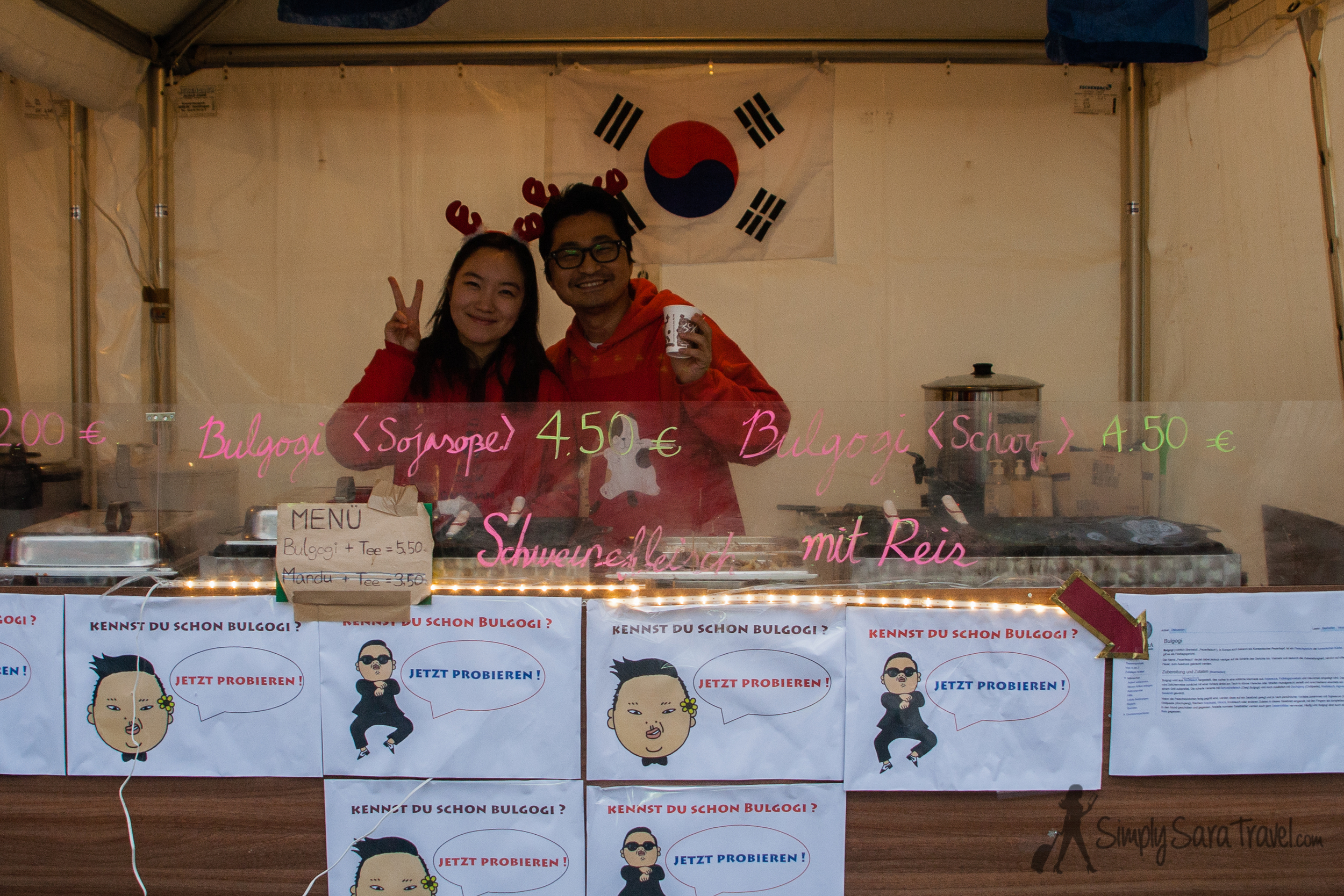 """The  Augustusmarkt  in Dresden featured a vast variety of international foods. The """"K-food Gangnam Style"""" was a spirited, friendly stand!"""