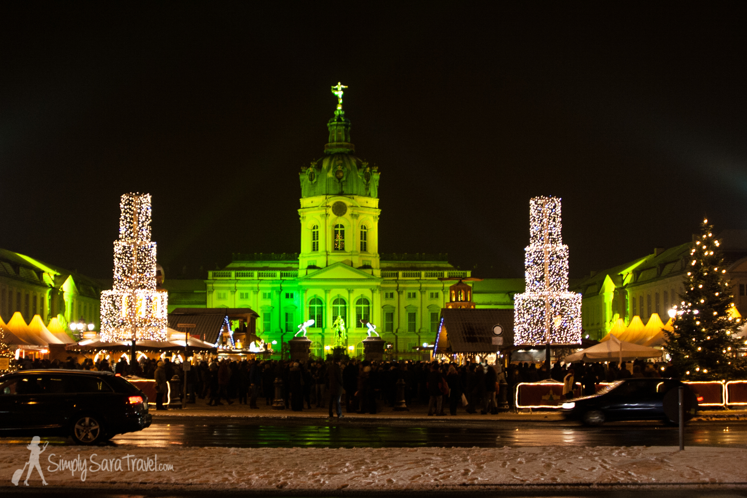 A Christmas market in Berlin in front of the Charlottenburg Palace