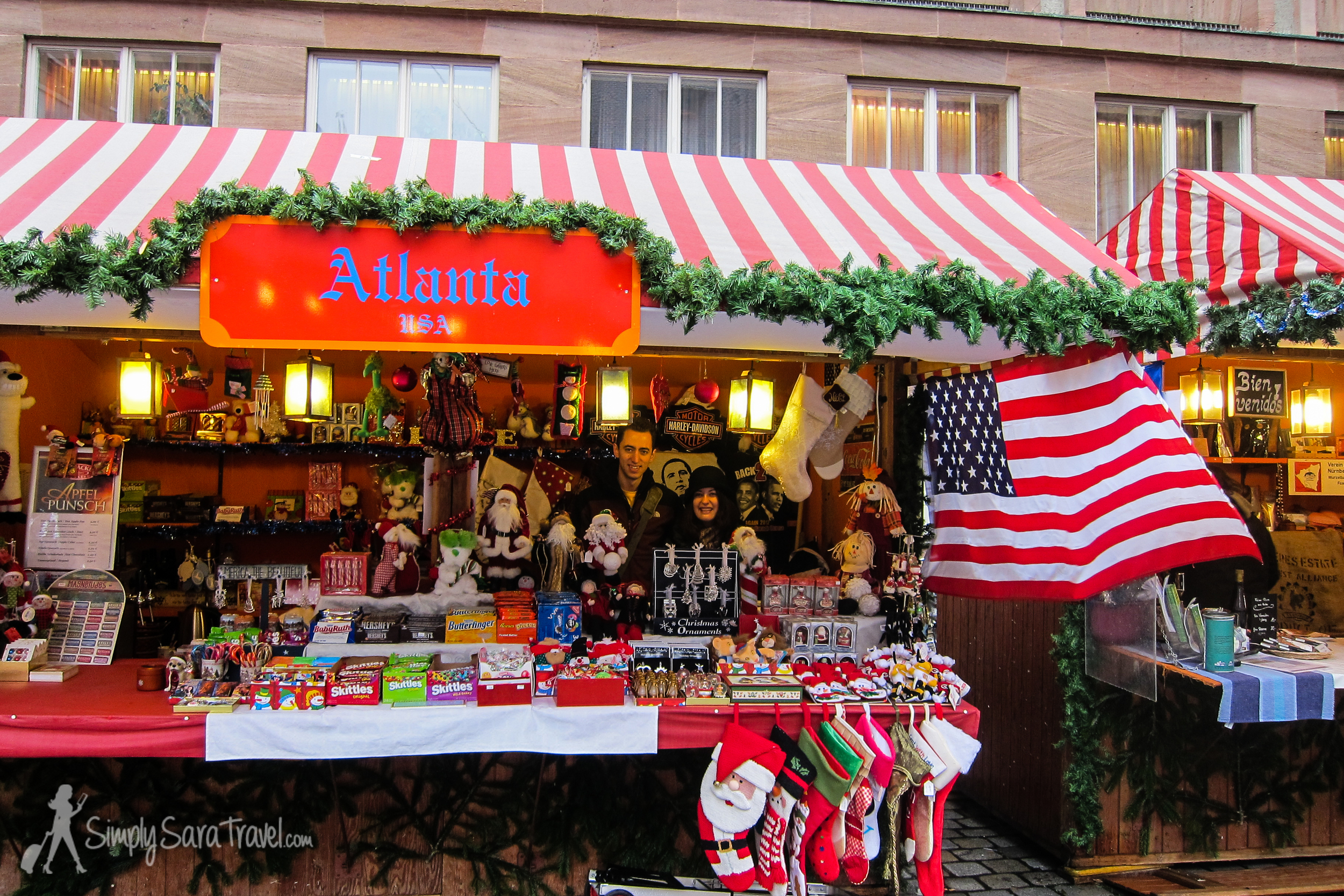 Some of the cities had an international market among the Christmas markets with products from countries all over the world. We found a USA stand inNürnberg that sold Obama T-shirts, Harley Davidson items, and Skittles, among other things. The shopkeepers let us stand behind the counter for a picture!