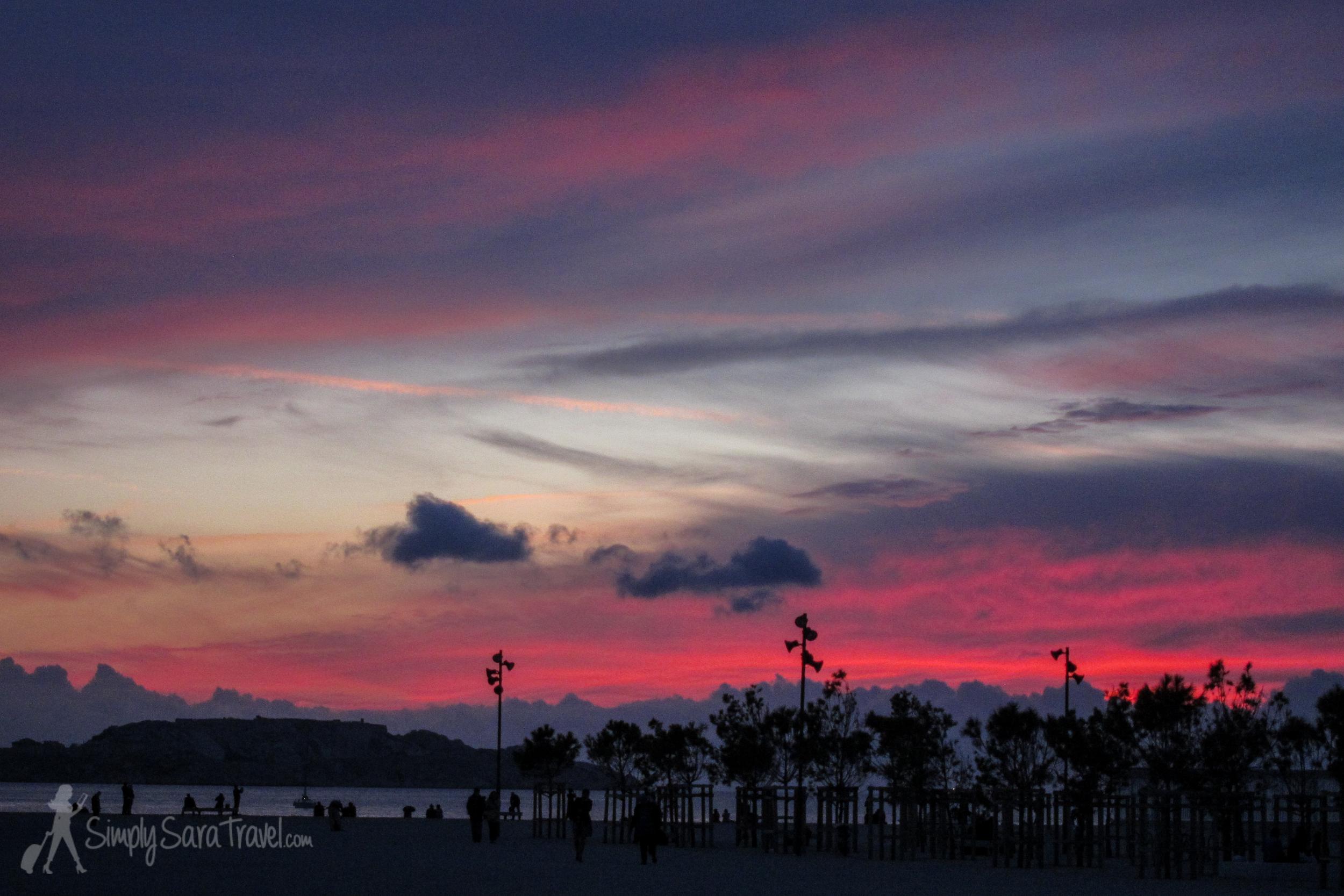 Sunset over theMediterranean in Marseille at itsVieux Port (October 2013)