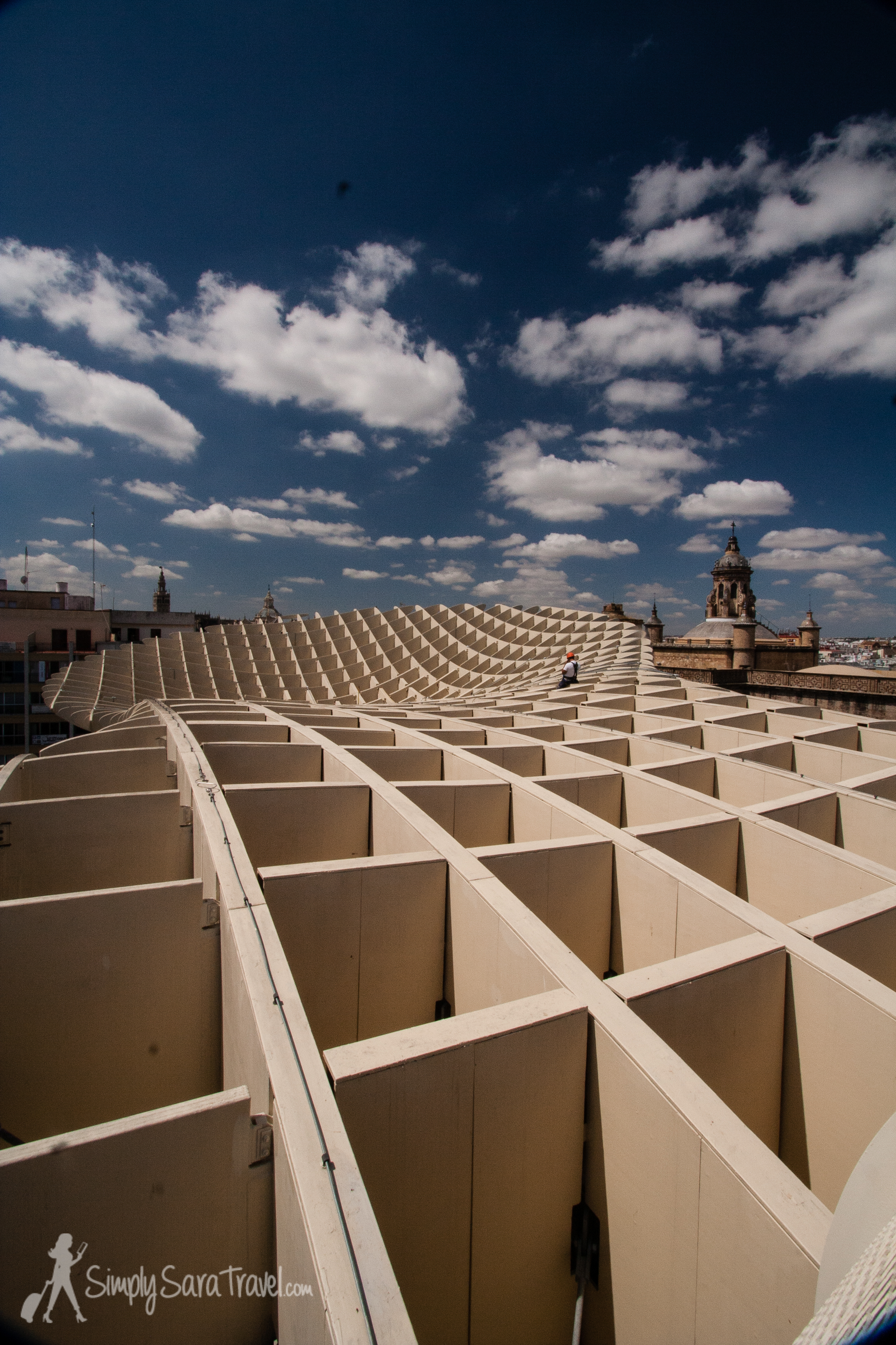 """The cool Metropol Parasol  in Sevilla, Spain that I refer to as """"the Waf"""" for its resemblance to a waffle (June 2013)"""