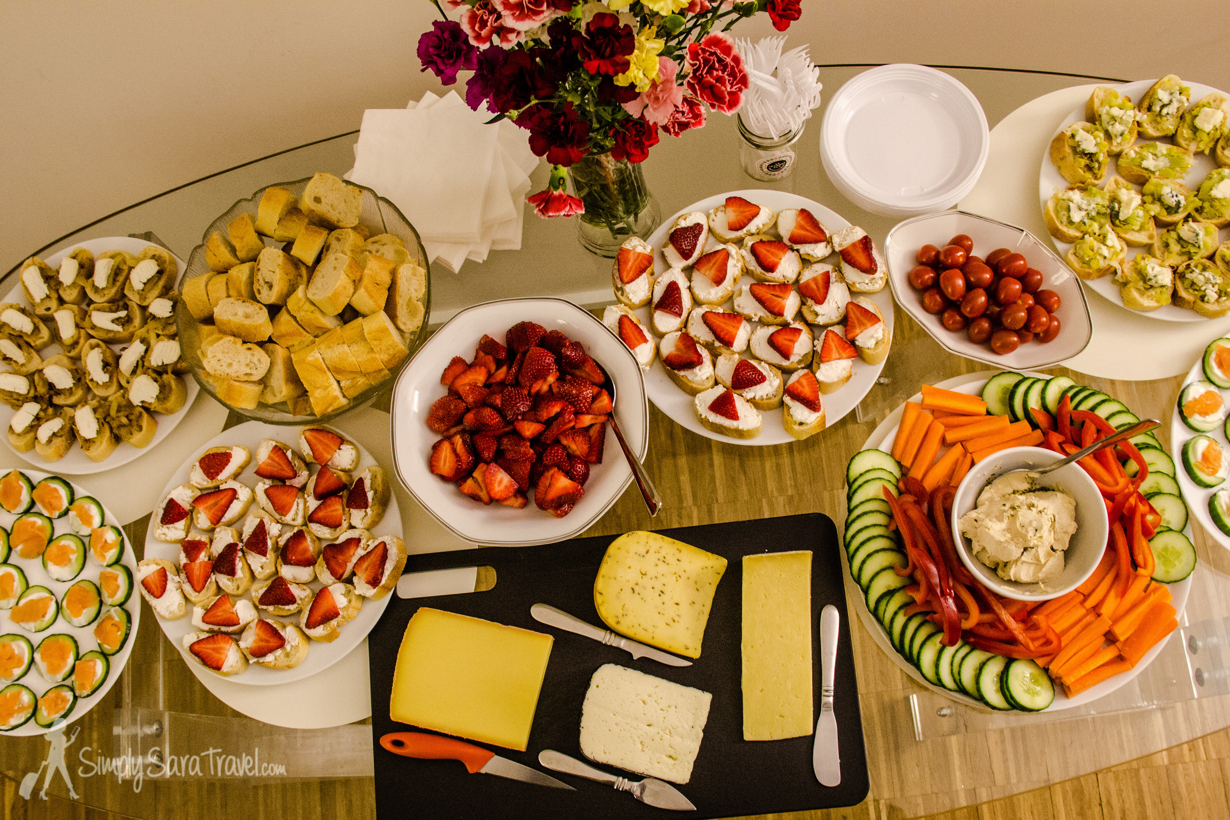 Part of the party spread...minus the late appearance of stuffed mushrooms and macarons