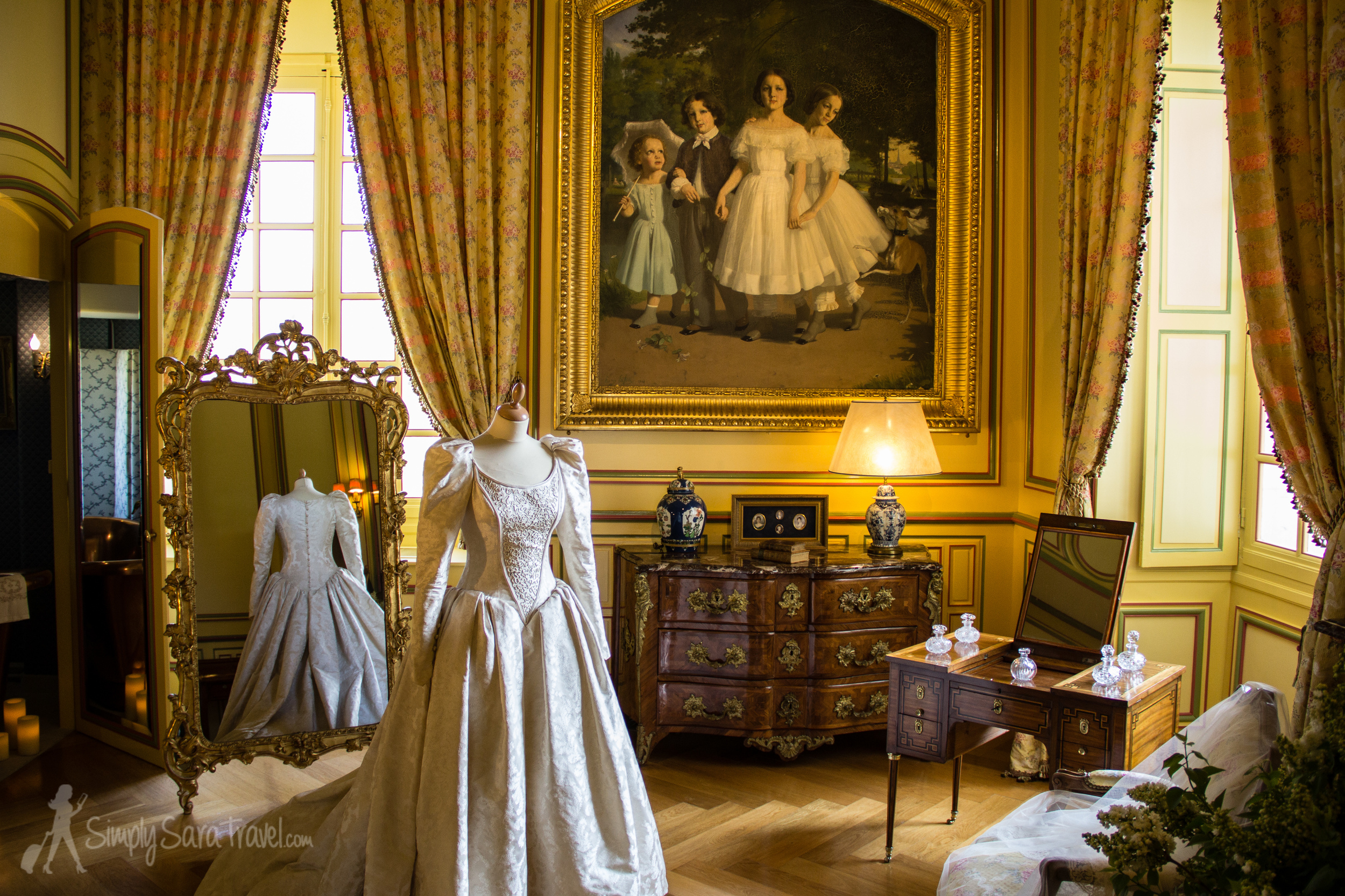 TheHurault family still lives in the château on the third floor (not open to the public). The château has been in the family forover 6 centuries, though they lost ownership of it twice over the years. Now descendants of the Hurault family live here, and this wedding dress on display was worn by the Marquise de Vibraye in 1994.