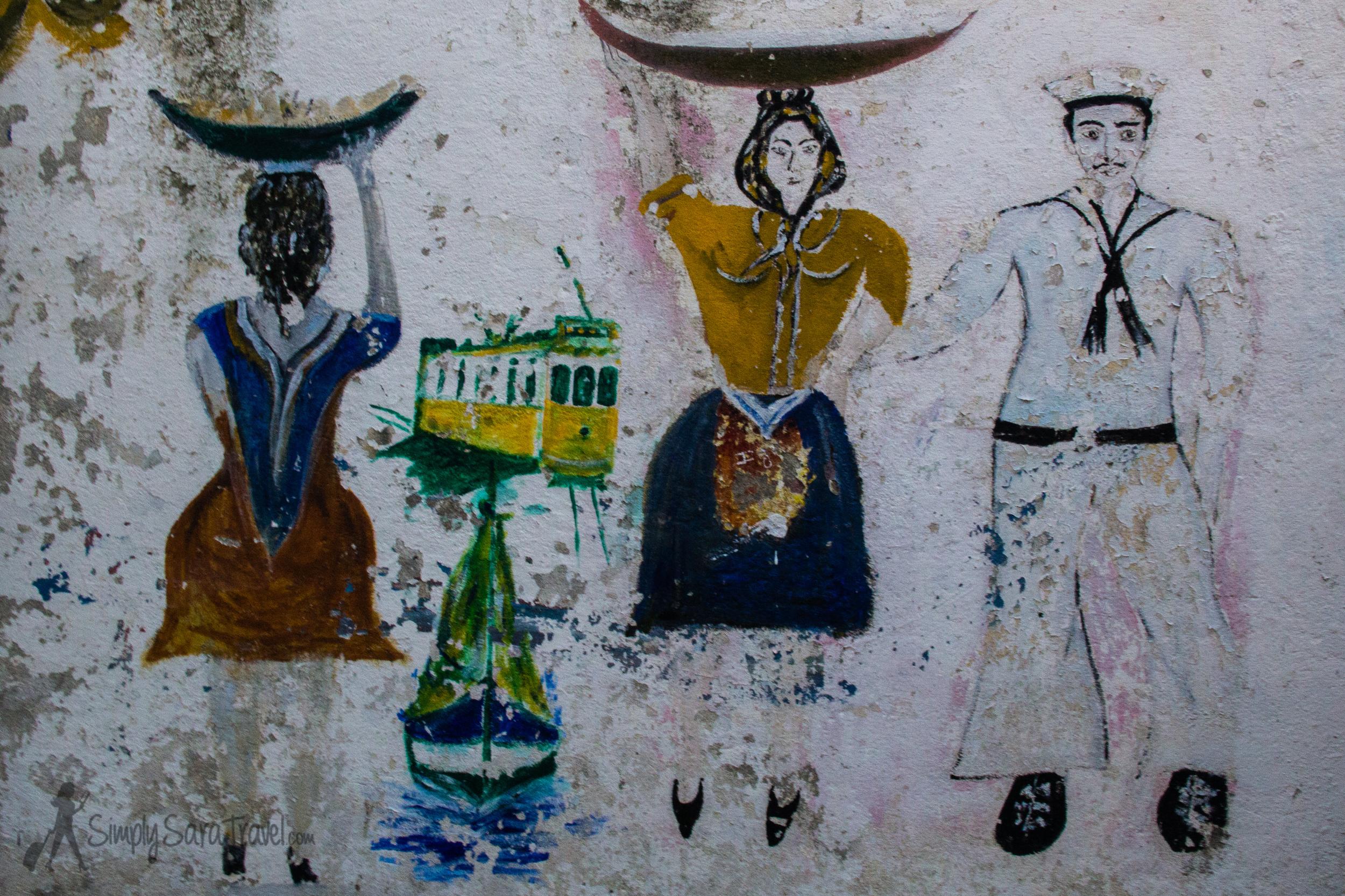 Street art inAlfama neighborhood of Lisbon
