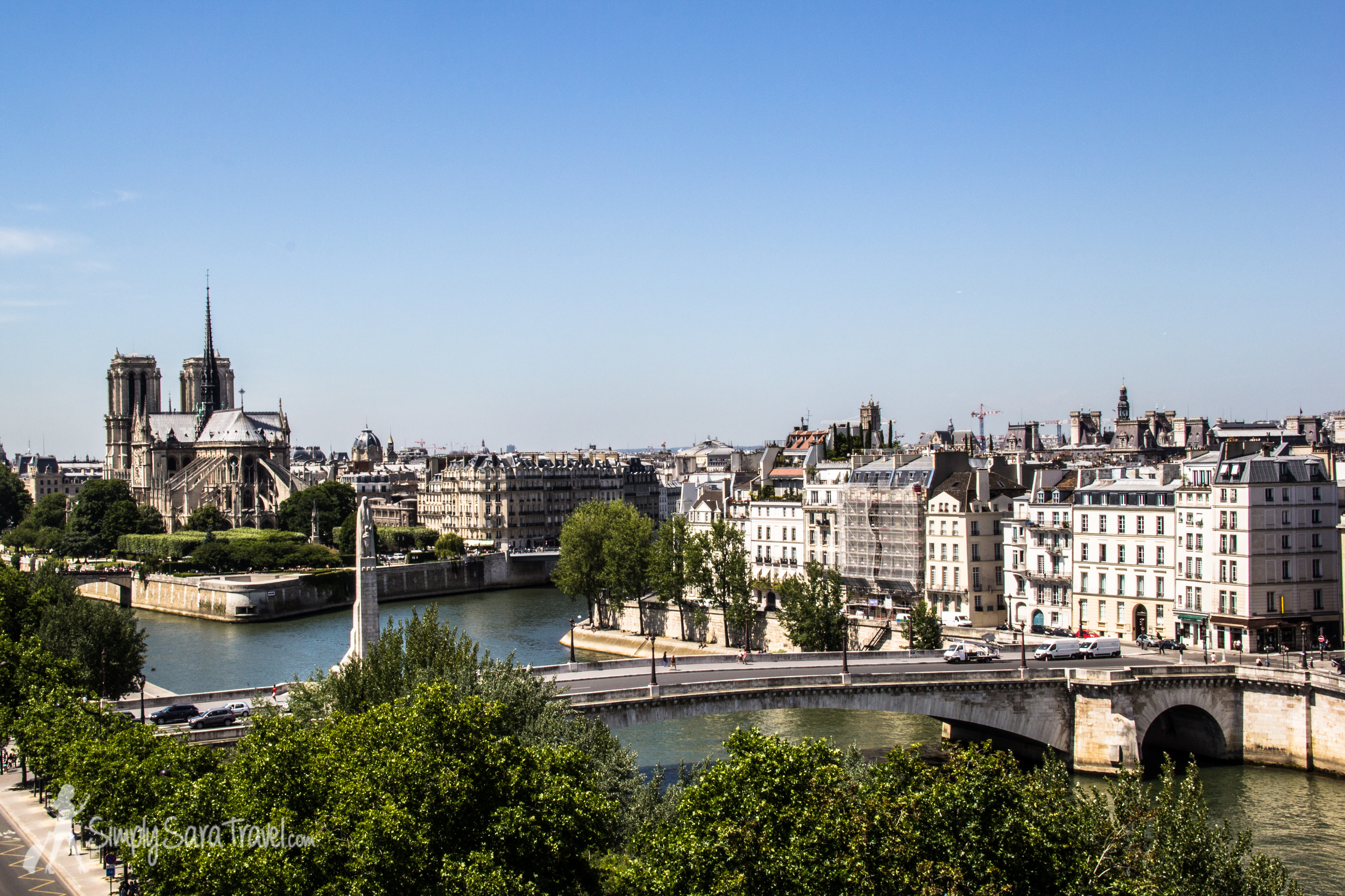 Looking out at the back of Notre Dame from the terrace