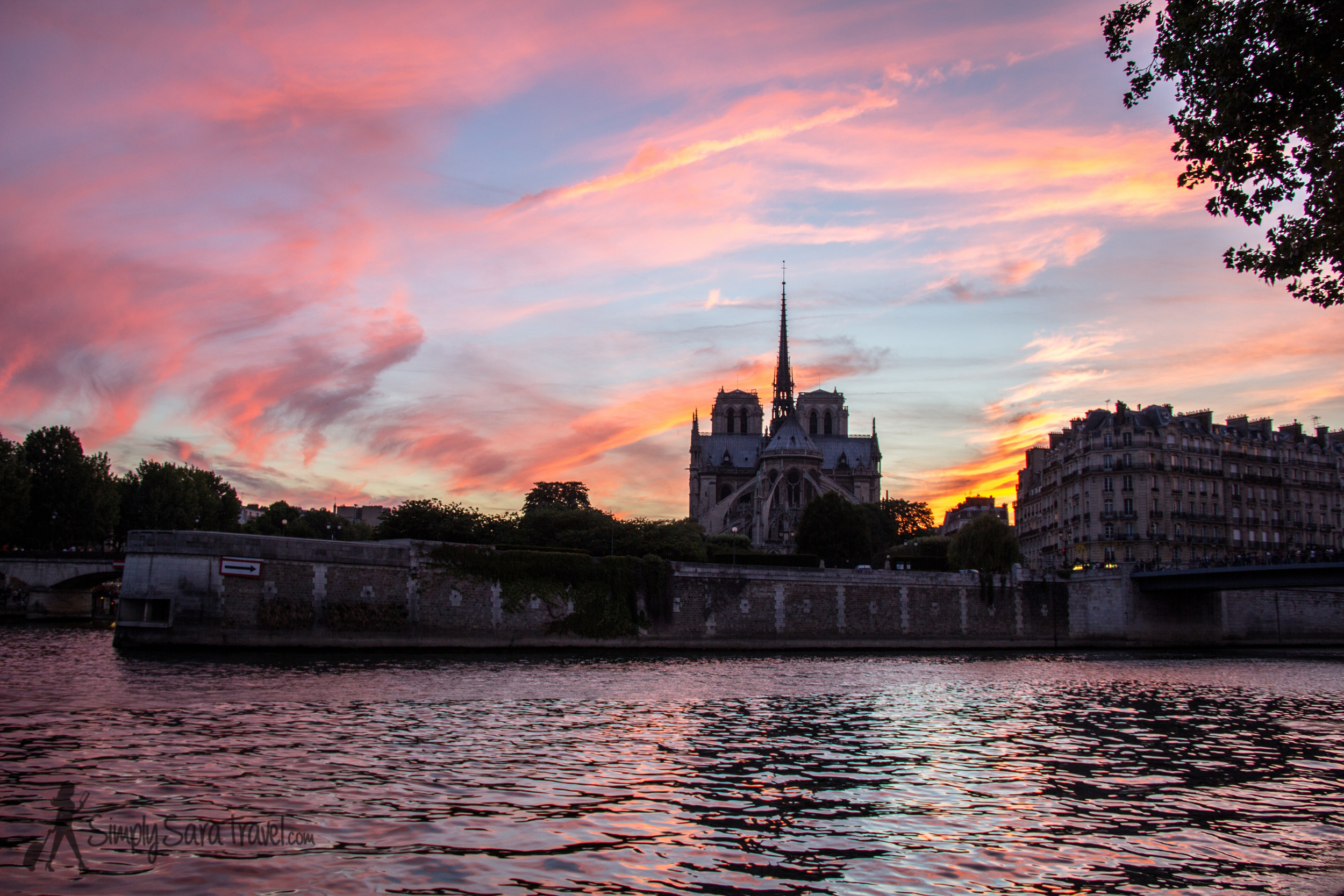 Sunset at Notre Dame from Ile Saint-Louis