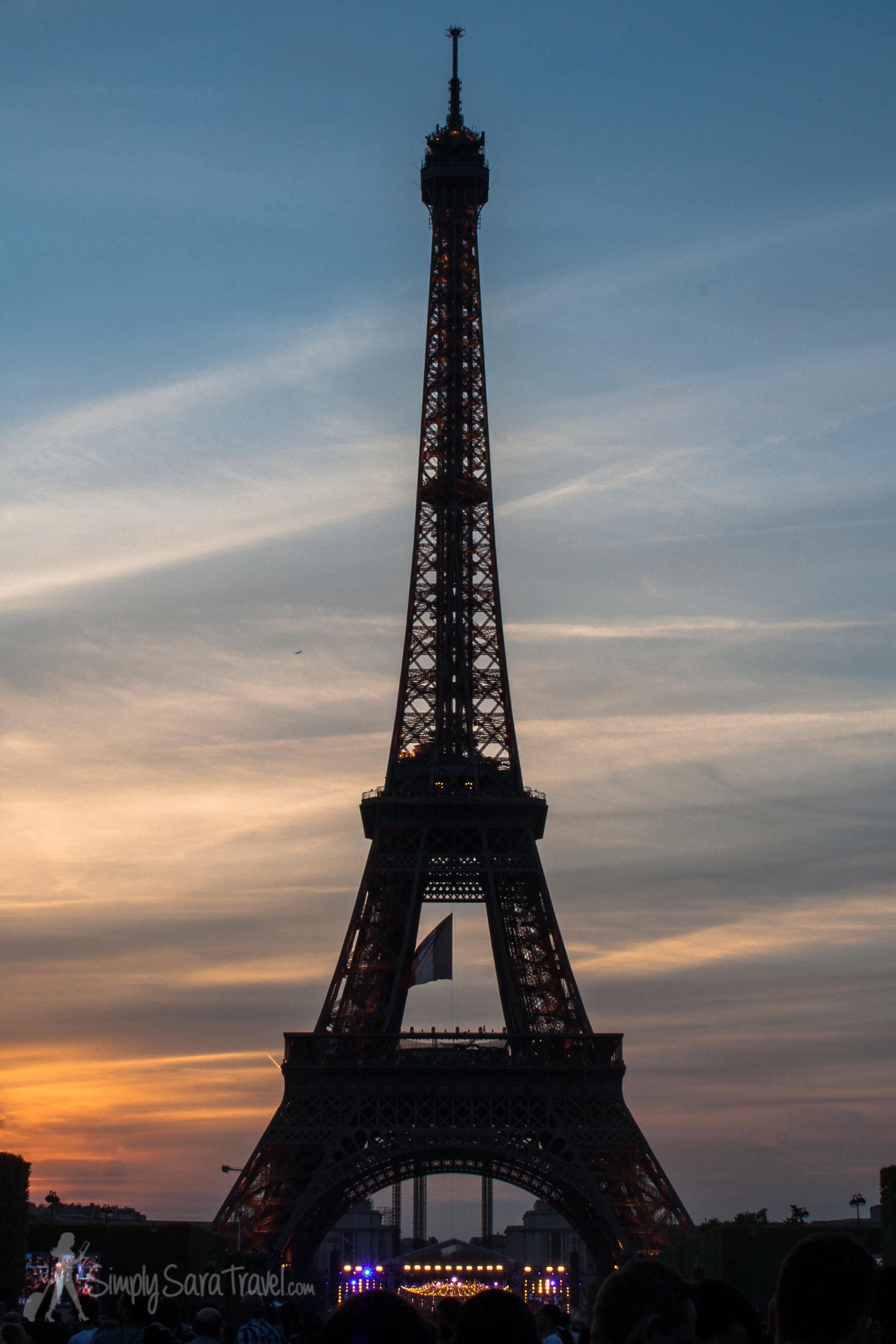 Sunset at Eiffel Tower on Bastille Day