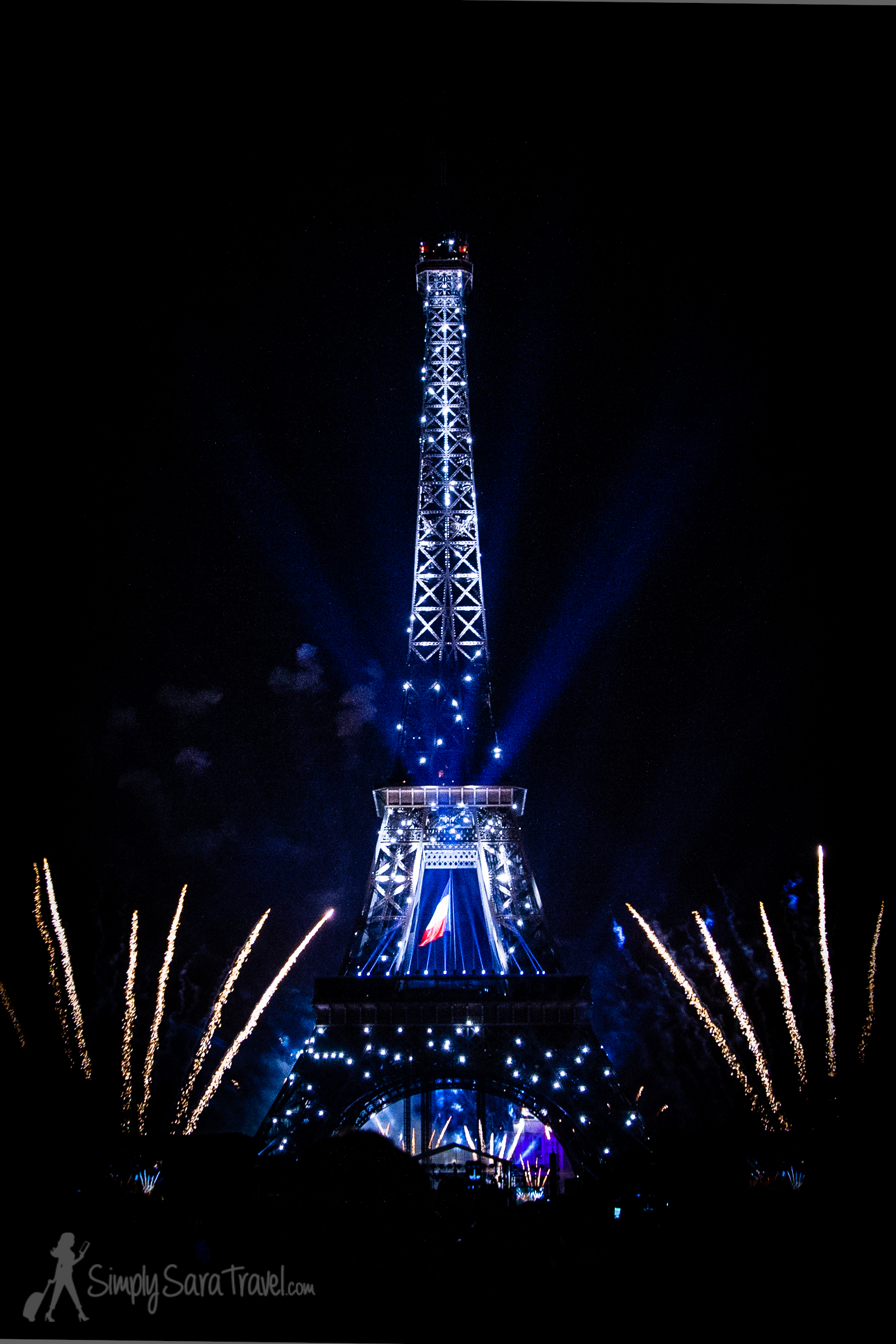 Fireworks and French Flag at Eiffel Tower, Bastille Day 2013