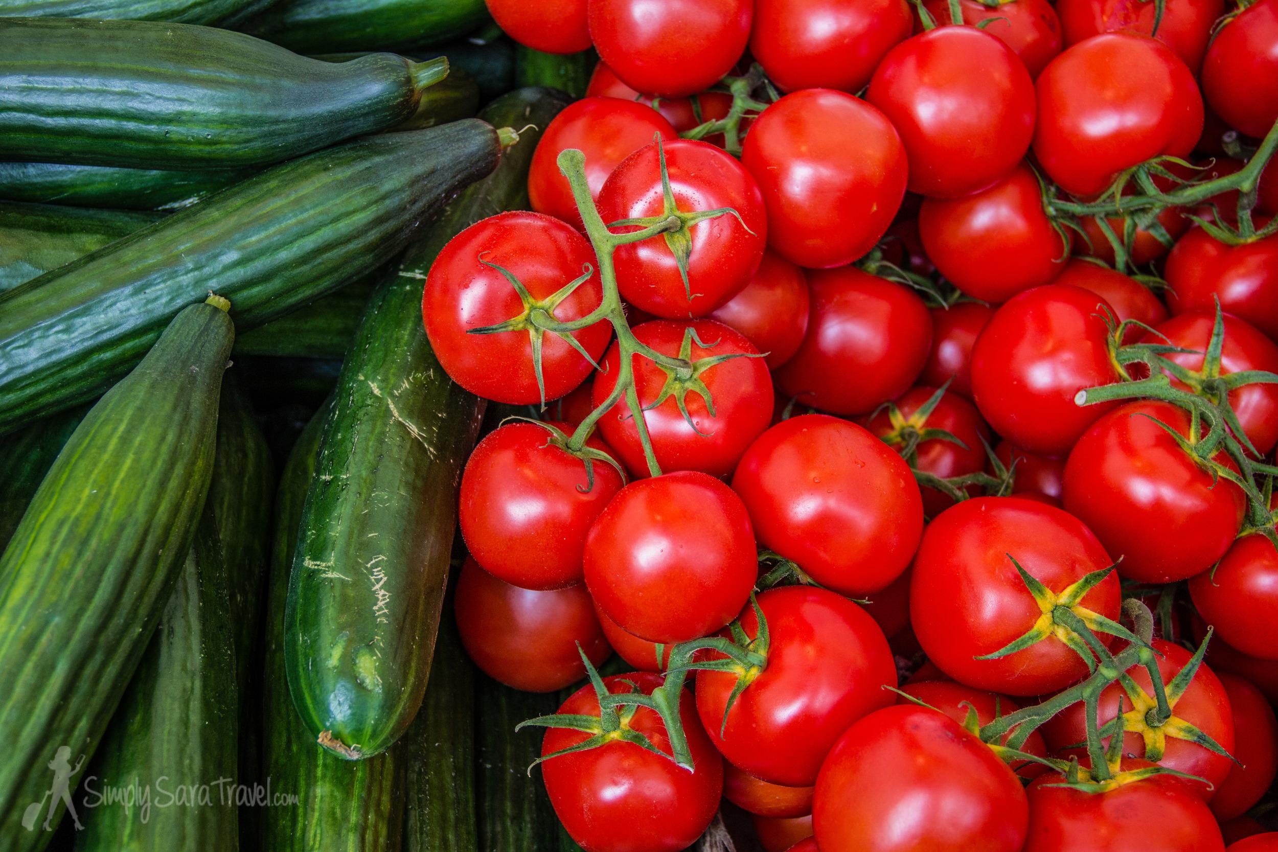 Produce at the Bastille market, Paris