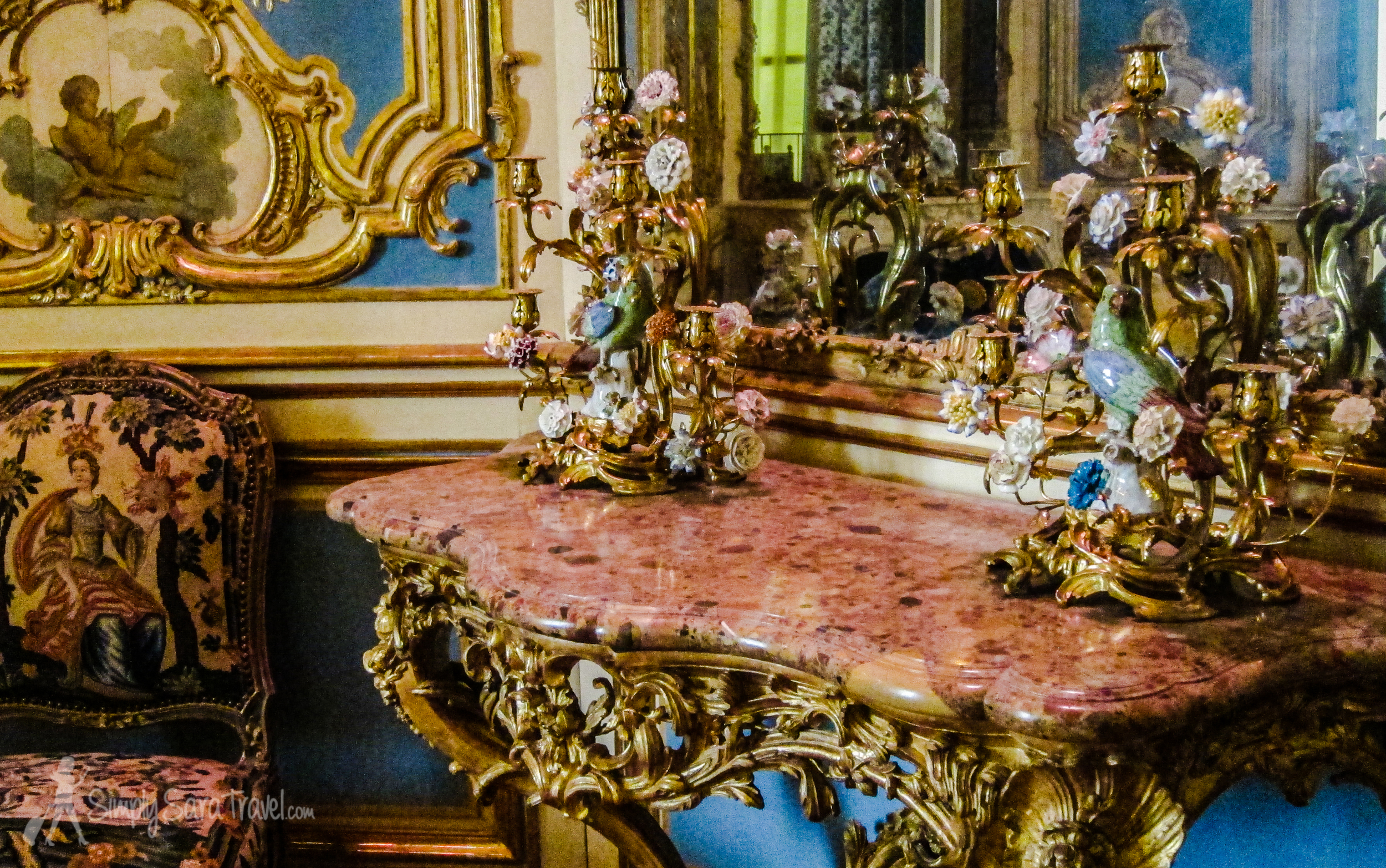 From Louis XIV to Louis XVI room in Louvre, Paris, pink and blue