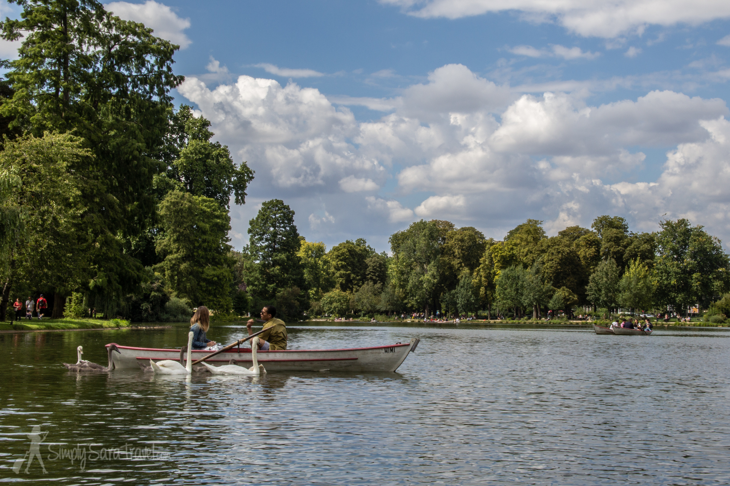Boat and Swans on Lac Daumesnil, Paris