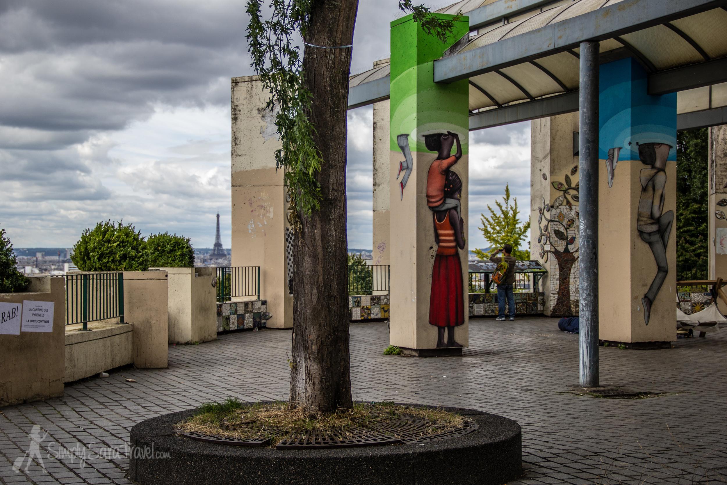 Street art and Eiffel Tower at Parc de Belleville
