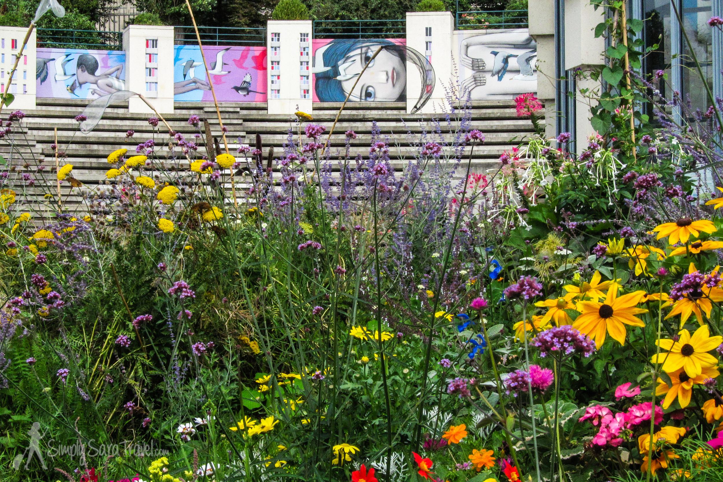 Street art and flowers at Parc de Belleville