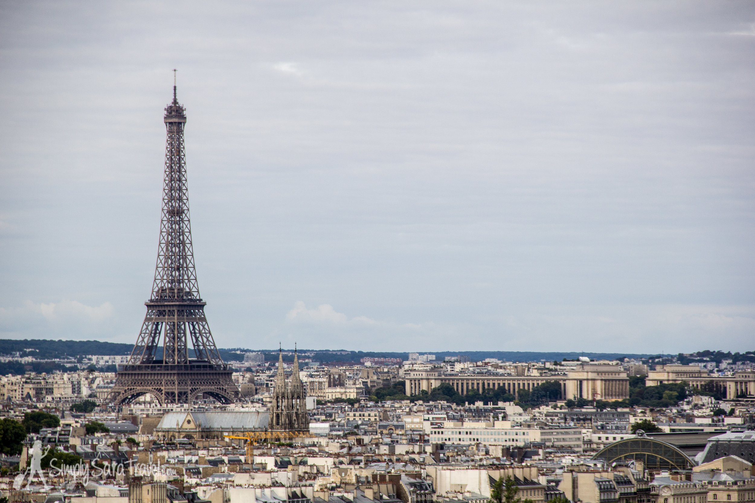 View of Eiffel Tower from Tour Saint-Jacques in Paris, France