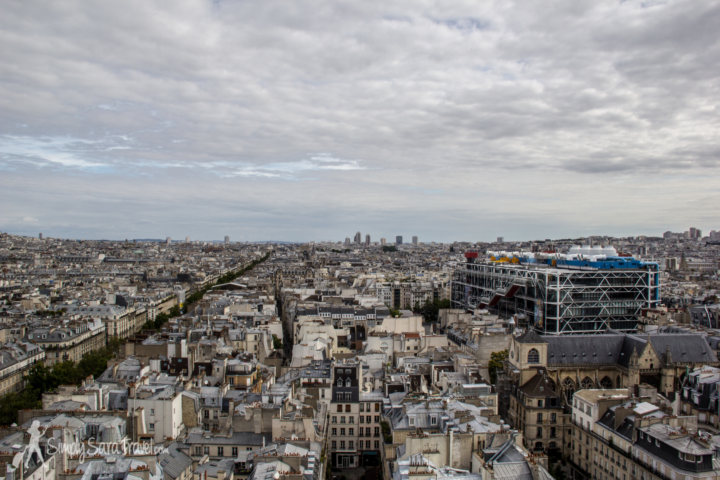 The bright colors of the Centre Pompidou really pop under gray skies