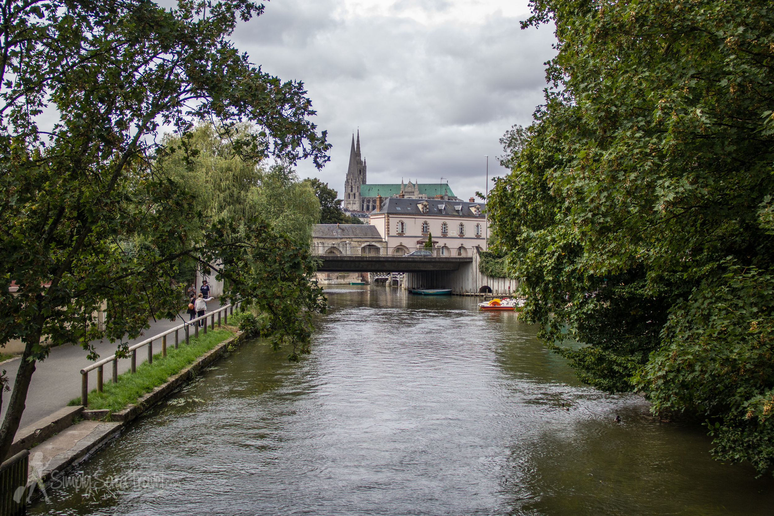 Chartres Cathedral as seen from the  Parc des Bords de I'Eure
