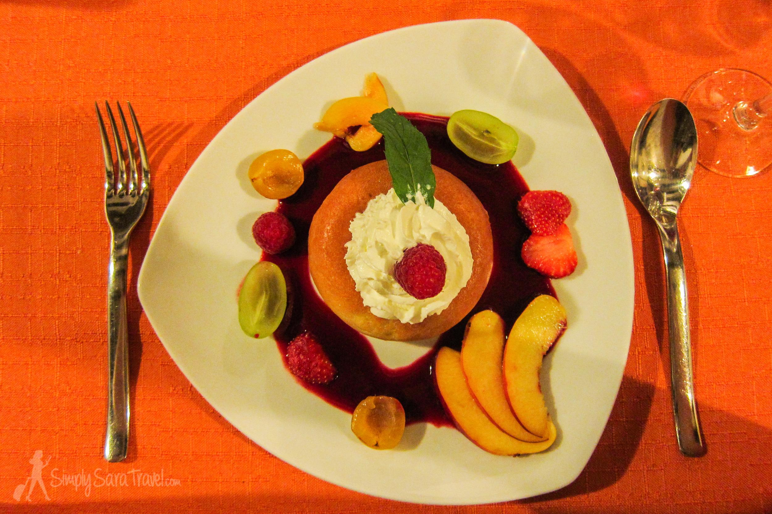 Michael's dessert, theSavarin au Grand-Marnier et aux fruits de saison (a baba rum cake with fresh fruit)