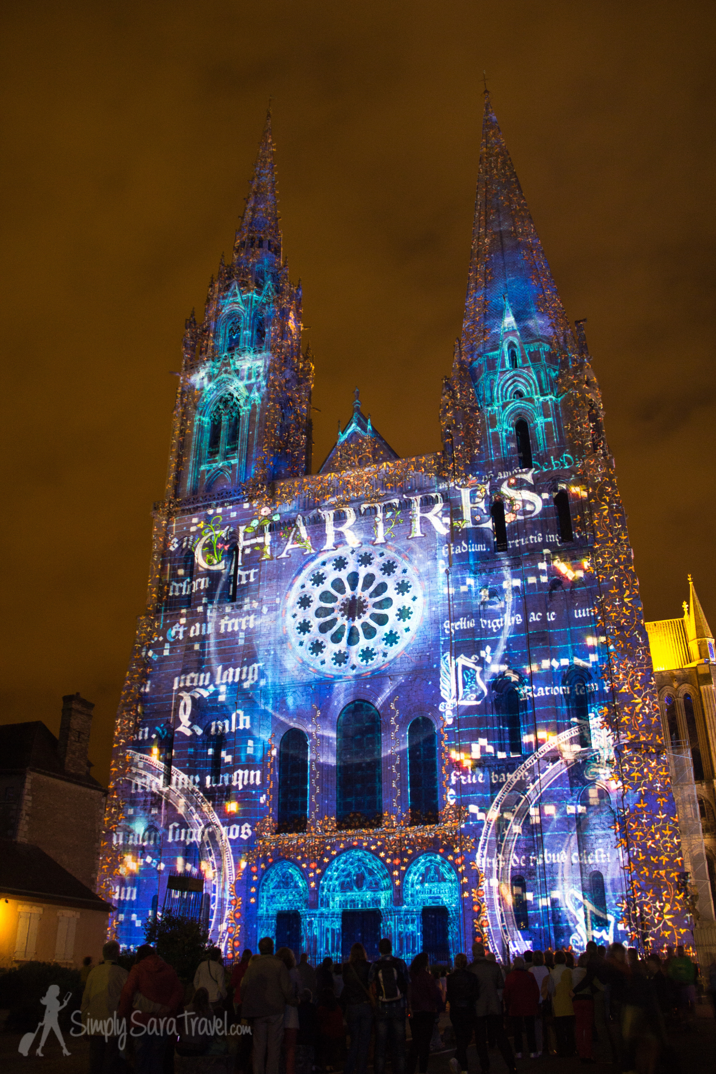 Chartres Cathedral at night,Chartres en lumières 2014
