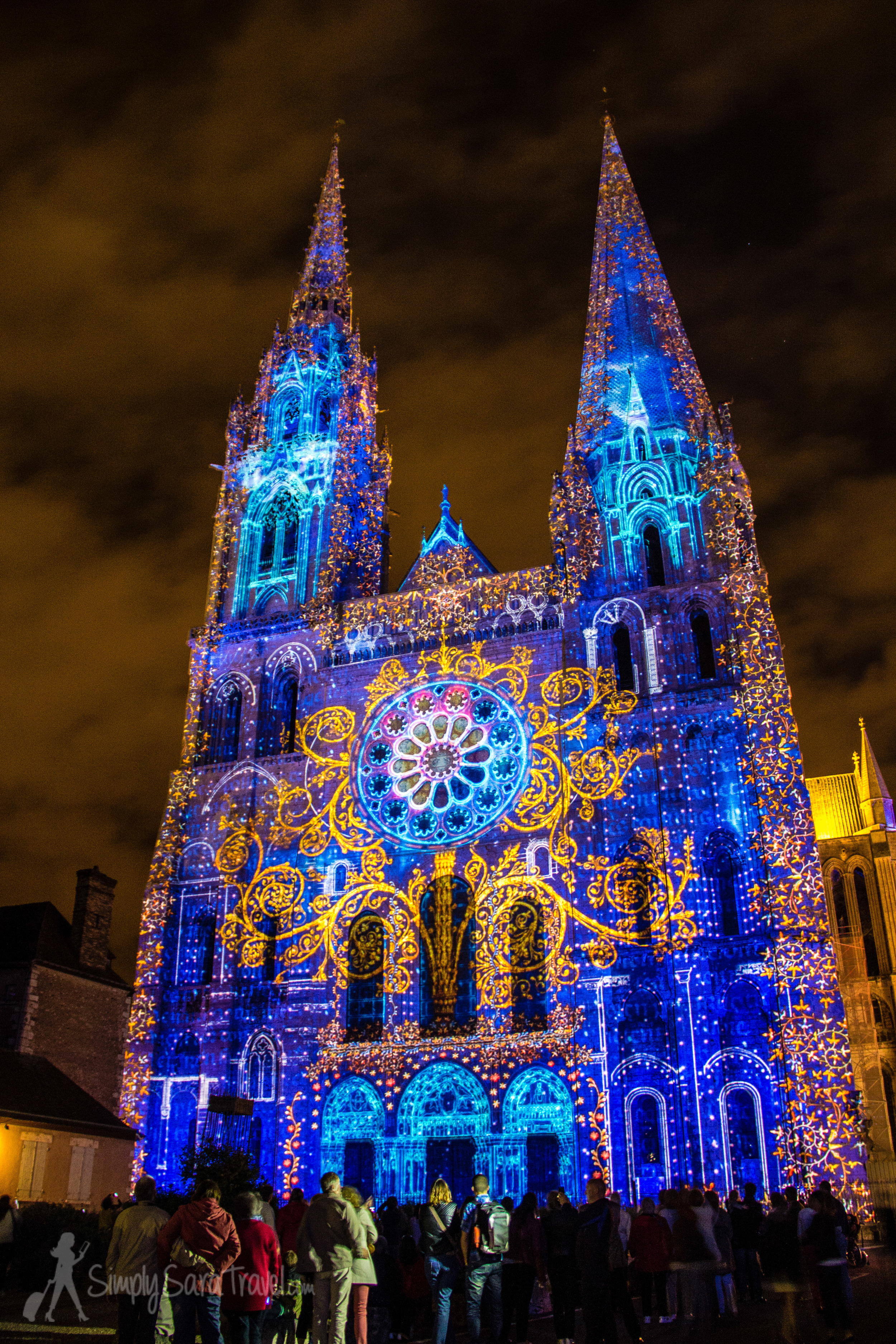 Chartres Cathedral at night, duringChartres en lumières 2014