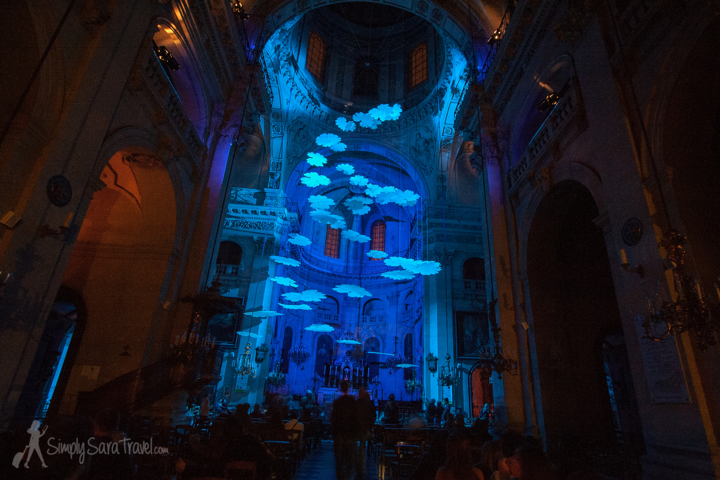 """The artistDominique Lacloche's work in St. Paul, called """"un degré plus haut"""" (a higher level). It was a huge mobile suspended from the church's dome."""