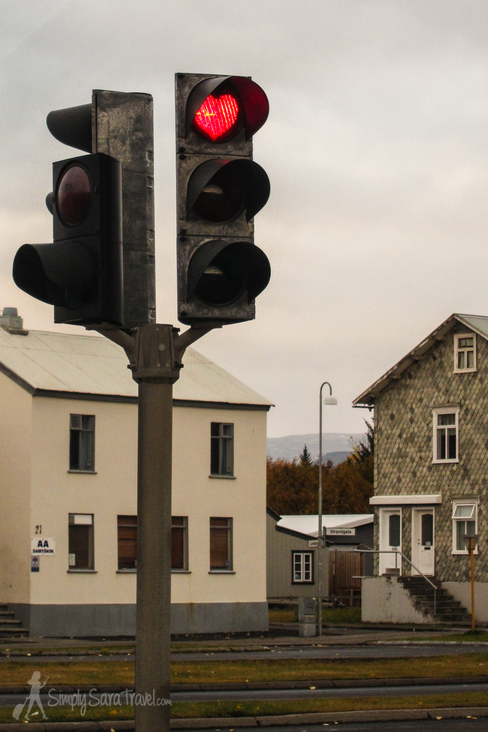 The town of Akureyri has stop lights that light up red hearts. It was part of an effort to  boost spirits  during the country's financial troubles in 2008.