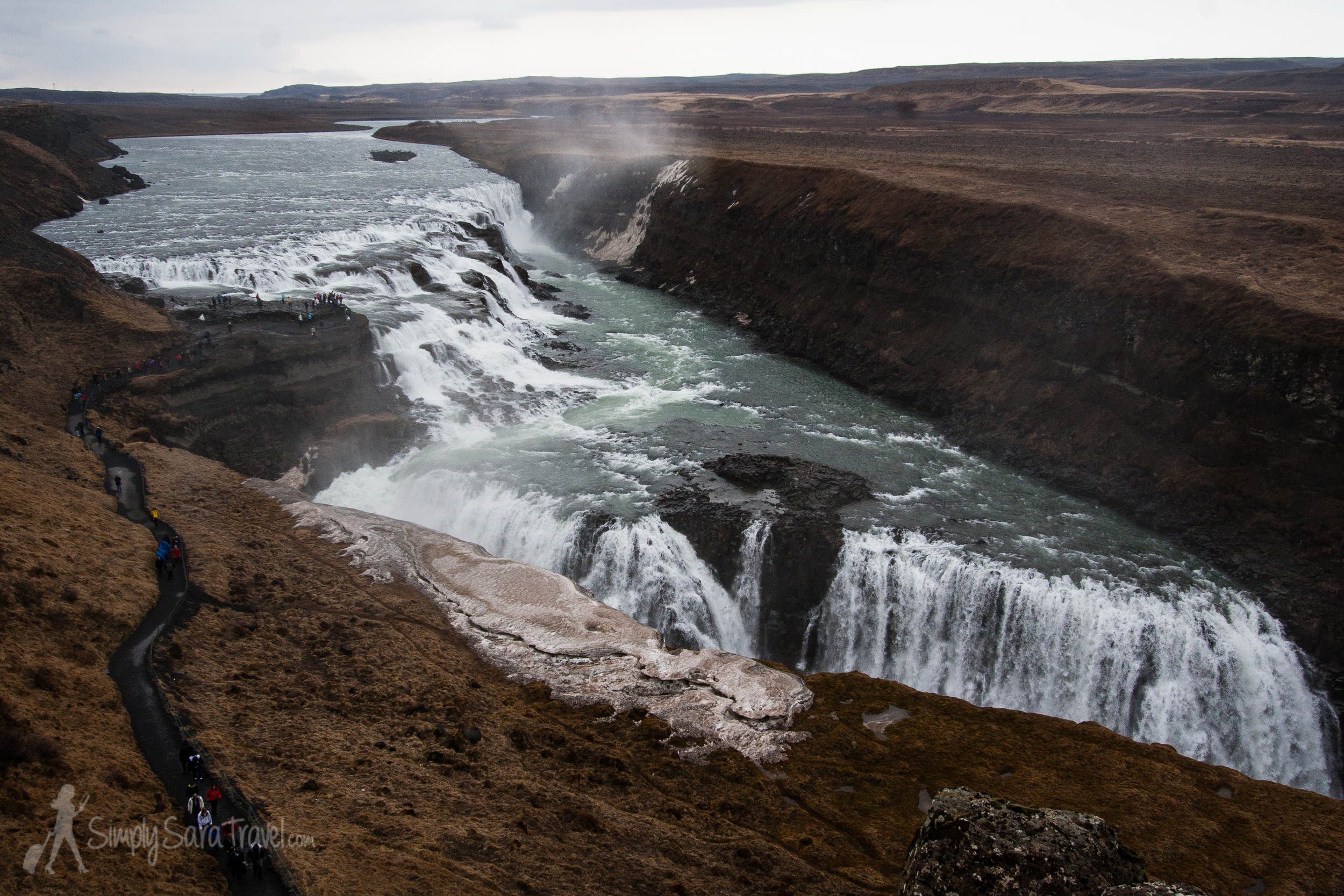One of Iceland's star attractions: the tiered waterfall of Gullfoss