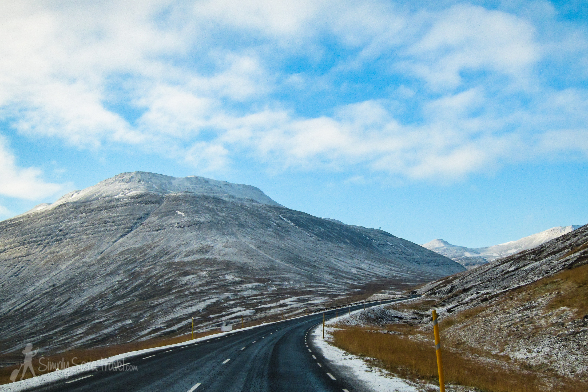 Snowy mountains along Iceland's ring road