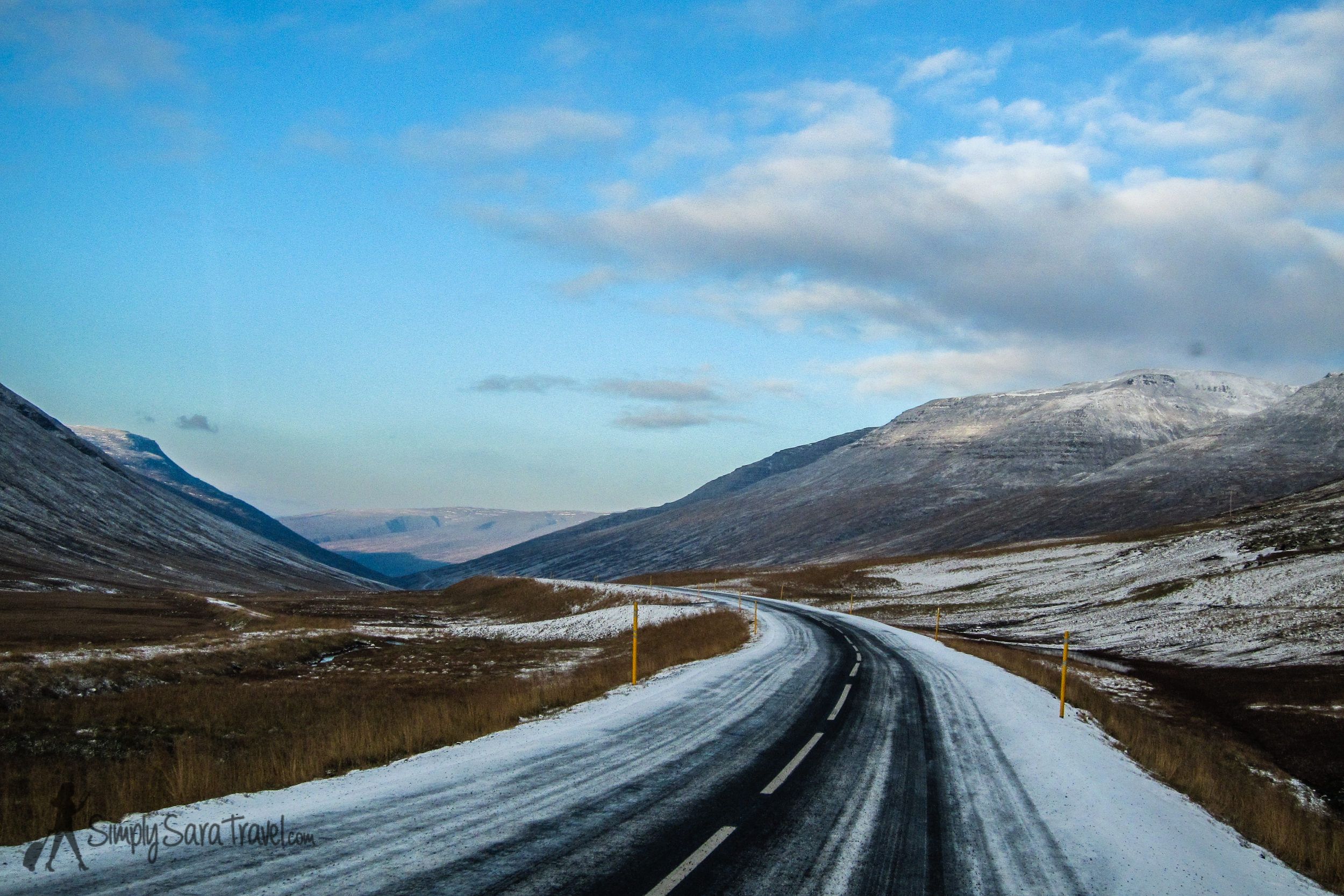 Snowy road and mountains in Iceland, October 2014