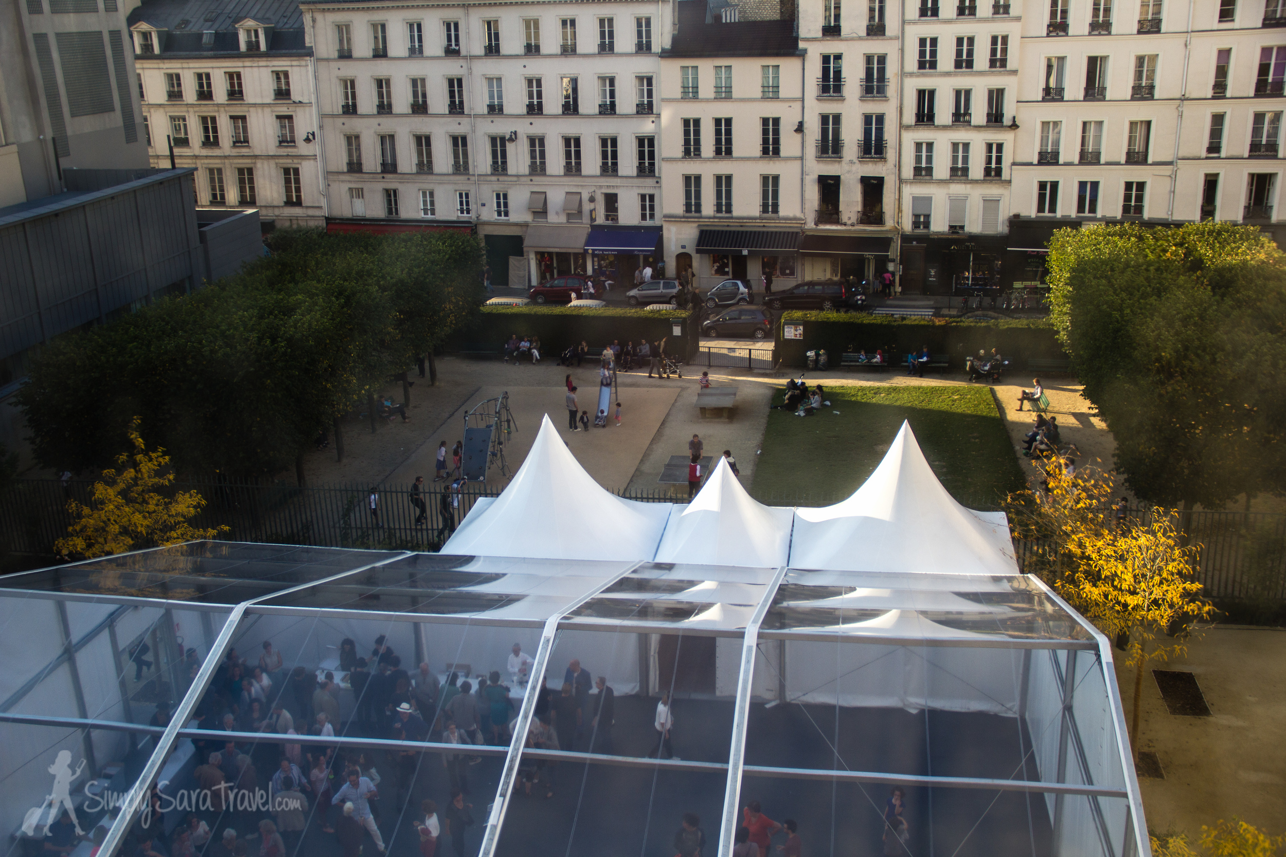 The tented cocktail party behind Musée Picasso