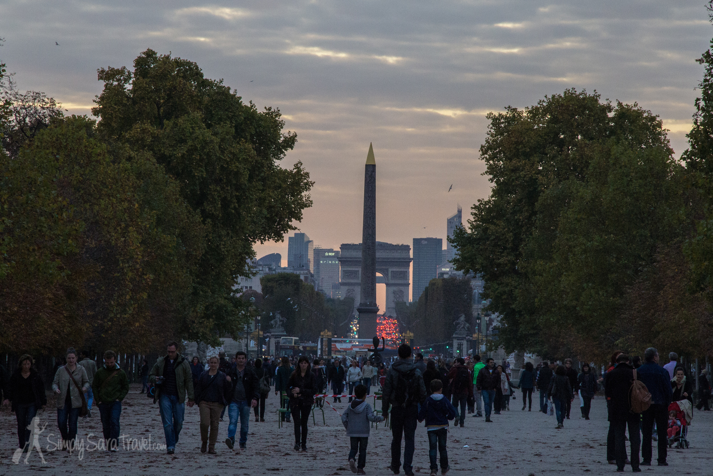 Sunset in Jardin des Tuileries looking towards La Defense